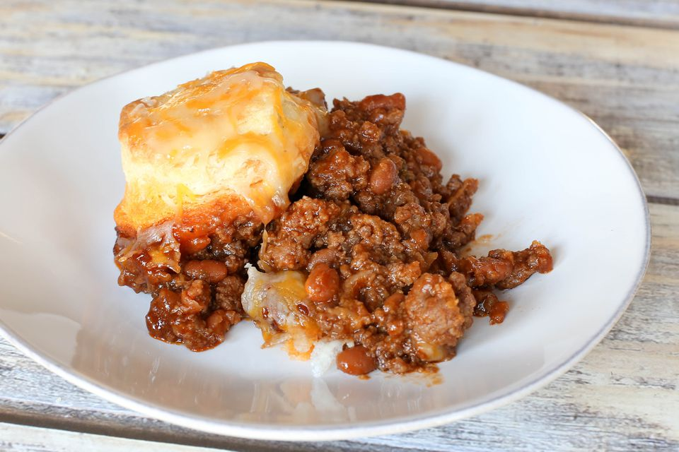 hungry jack casserole on a plate with biscuit
