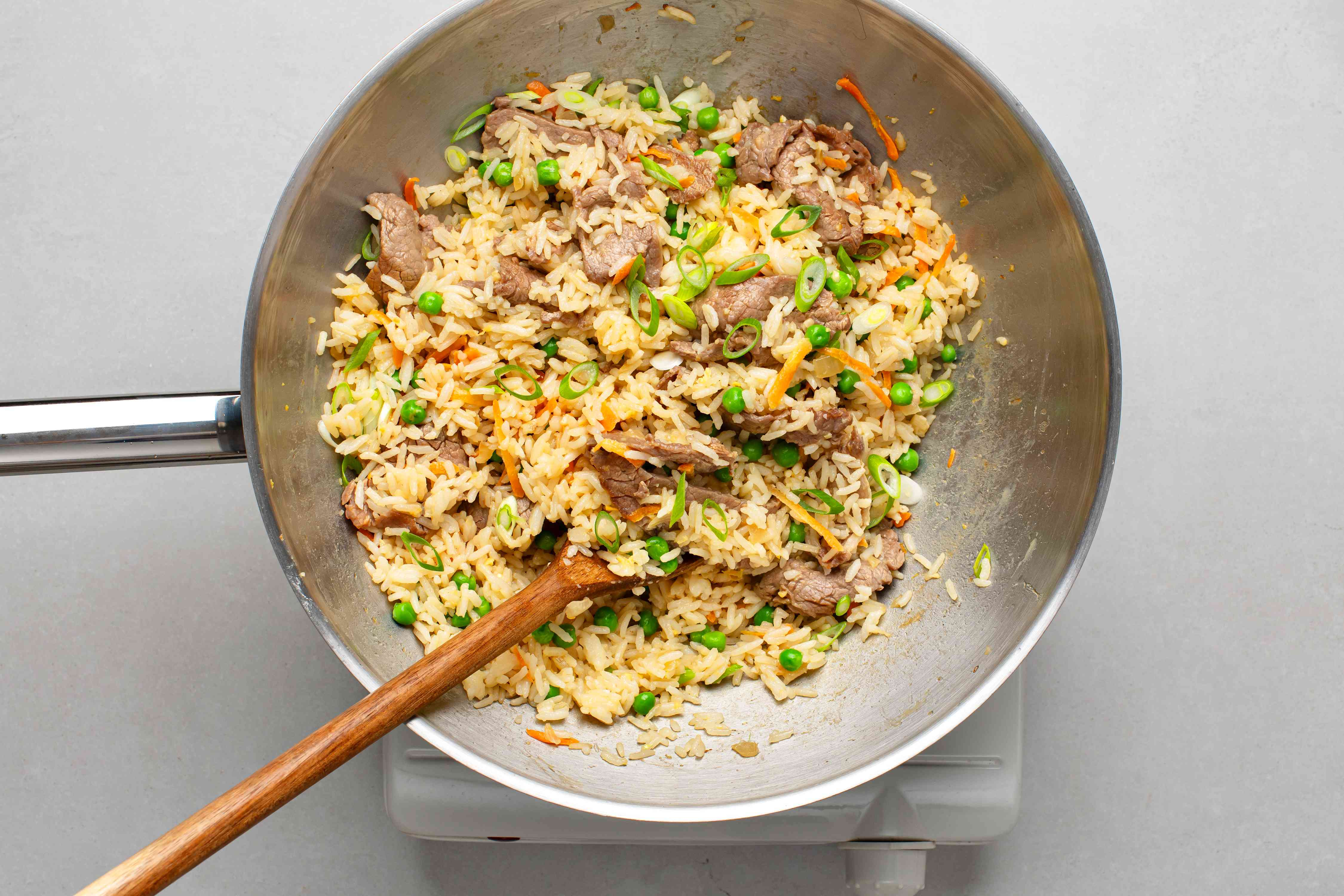 Chinese-Style Beef Fried Rice in a pan