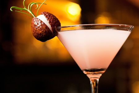 Lychee Martini With Homemade Lychee Liqueur