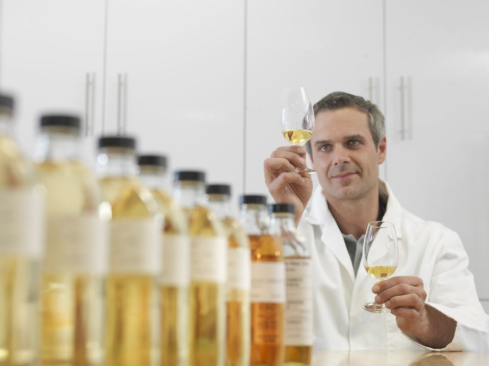 Scientist tasting whiskey in plant