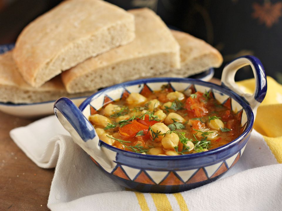 Moroccan soup with chickpeas, pumpkin and tomatoes