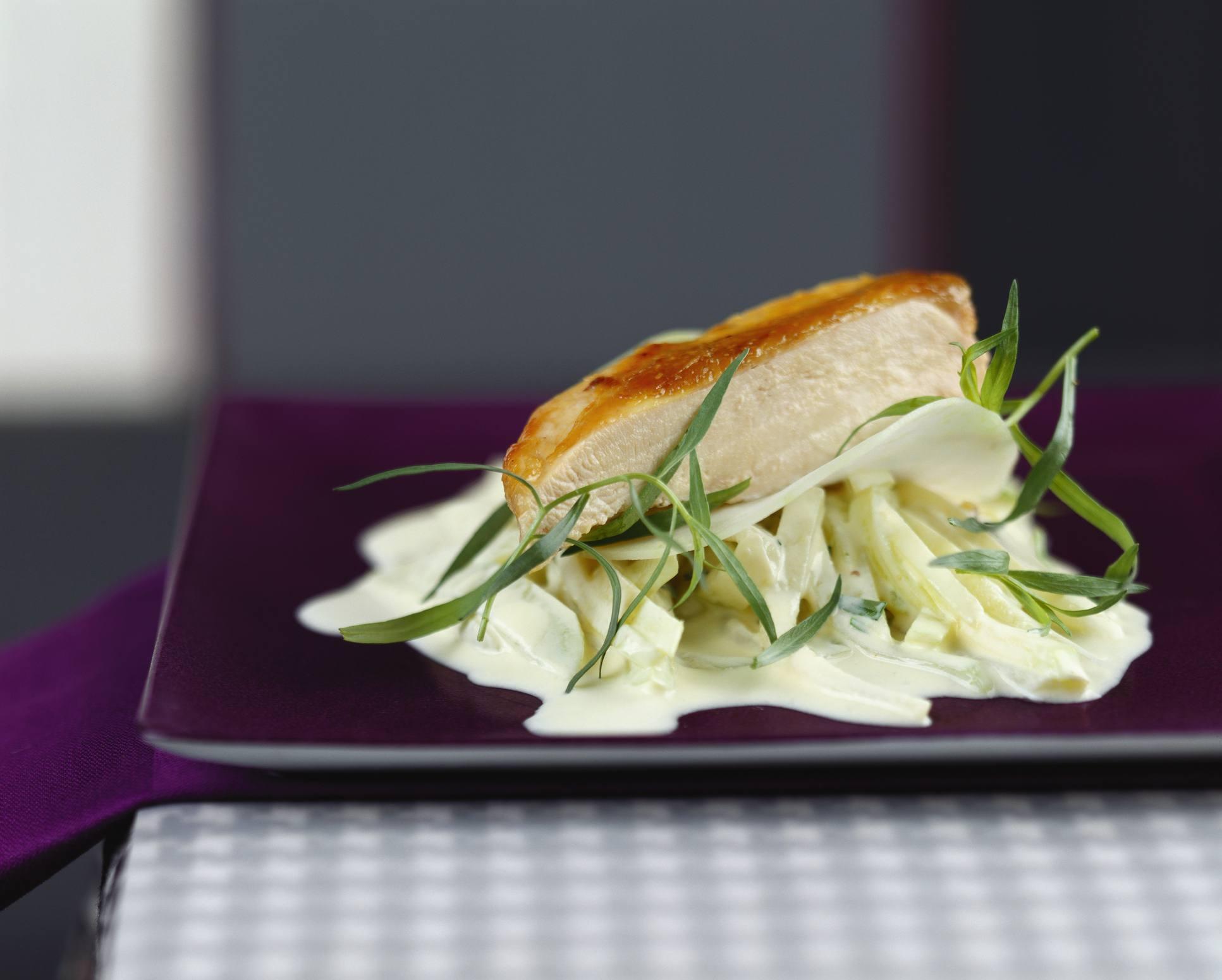 Chicken and kohlrabi side dish