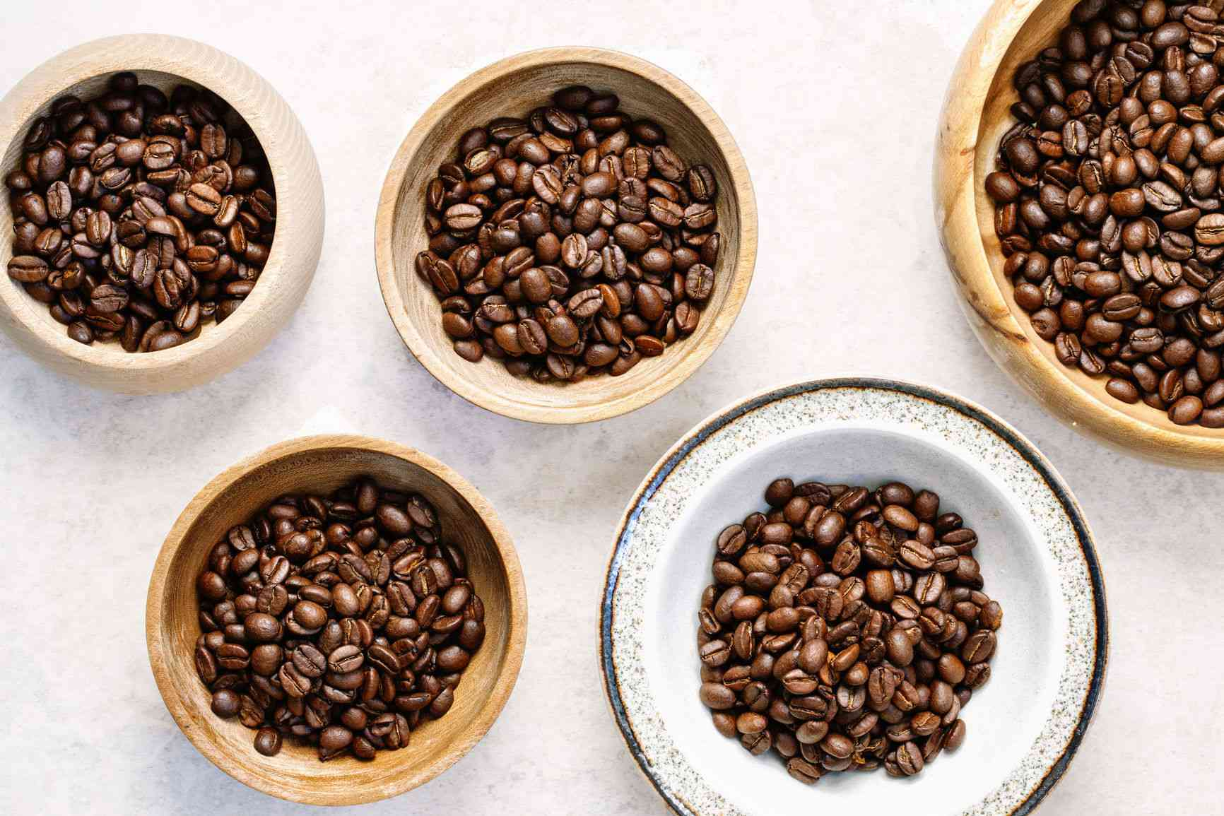 coffee beans on different plates