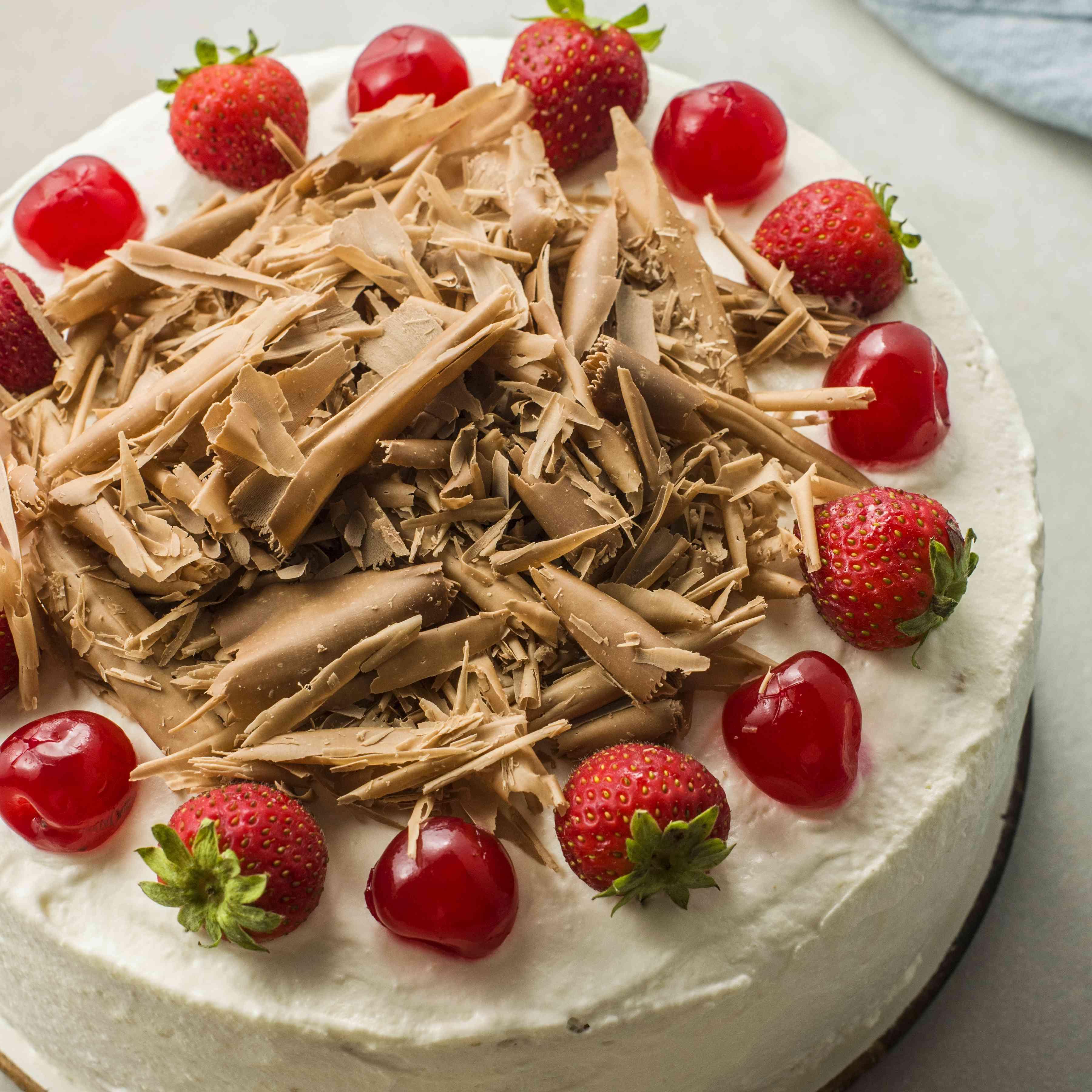 Italian ricotta cassata cake fully decorated