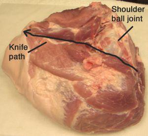 Cut along the bone of the pork roast.
