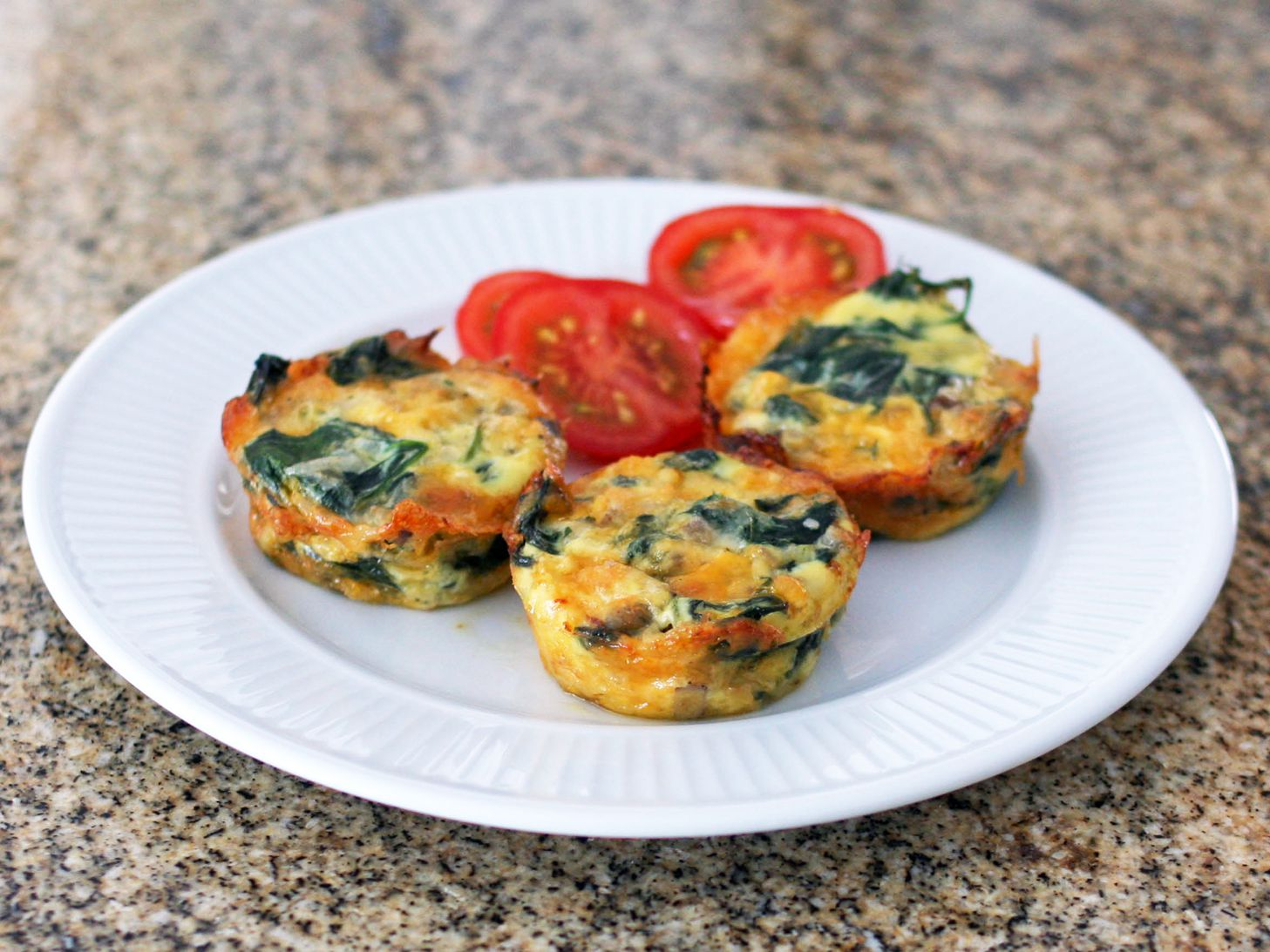 Mini Crustless Spinach And Mushroom Quiches Recipe