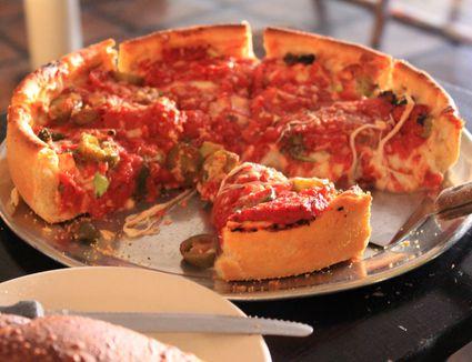 Chicago deep dish pizza pie