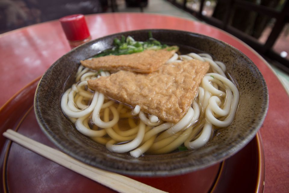 A bowl of kitsune udon