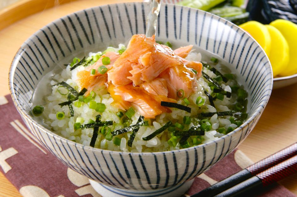 Salmon ochazuke, Japanese rice dish with green tea poured over rice