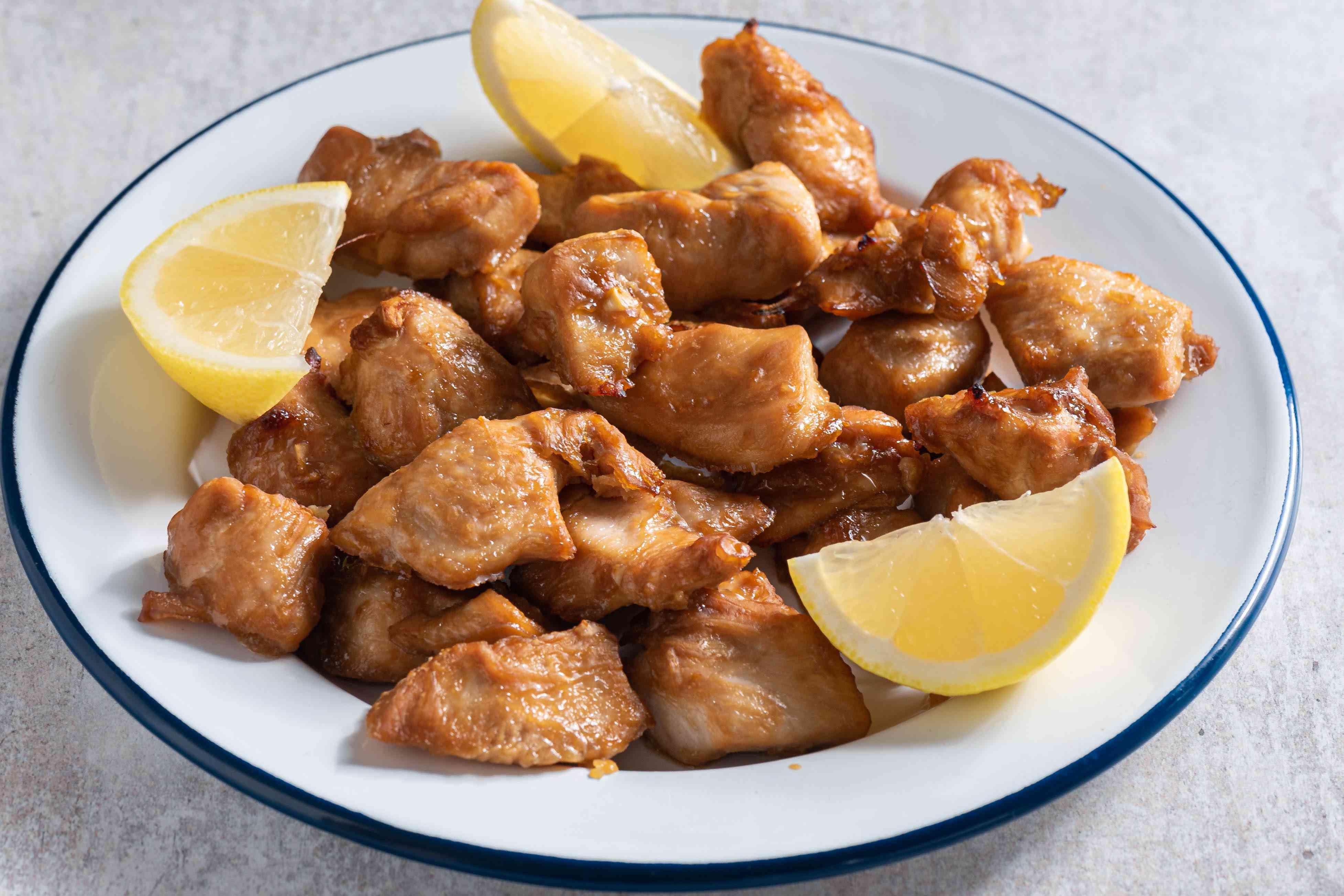 Baked Chicken Karaage, lemon wedges