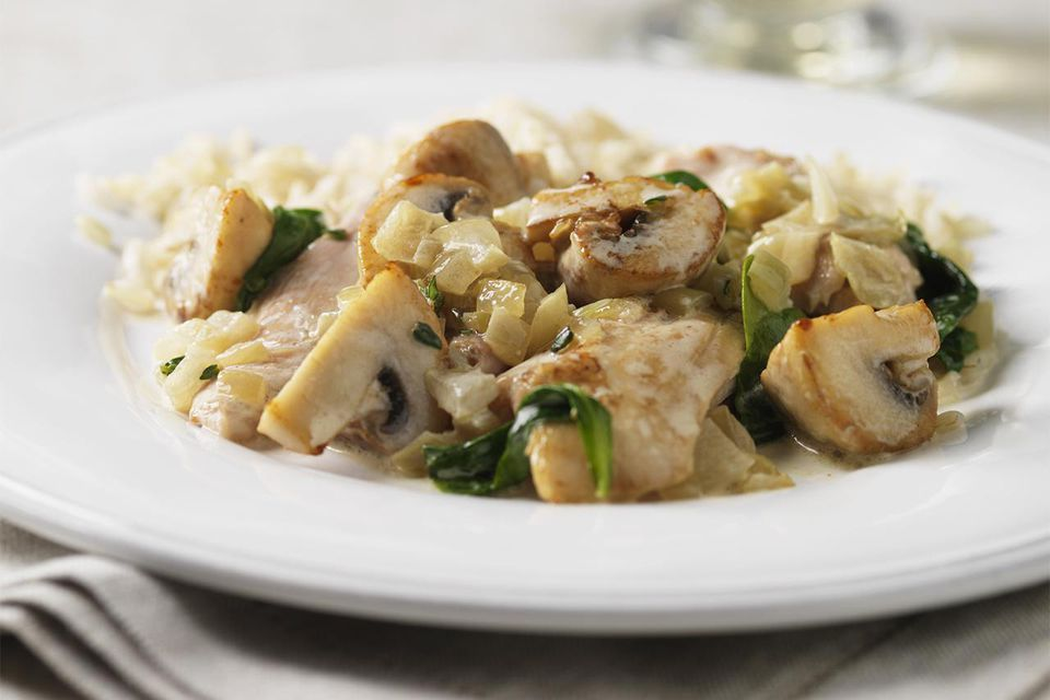 A plate of chicken stroganoff