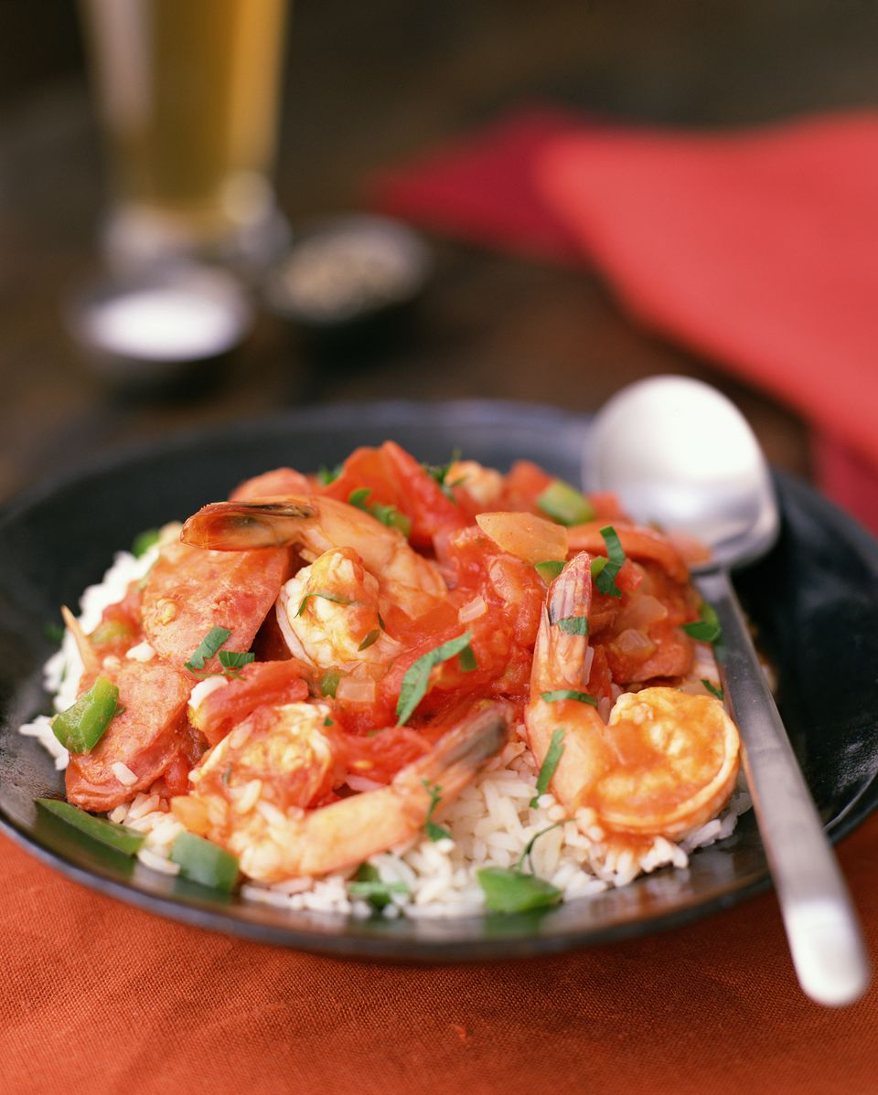 Creole shrimp entree with rice on plate