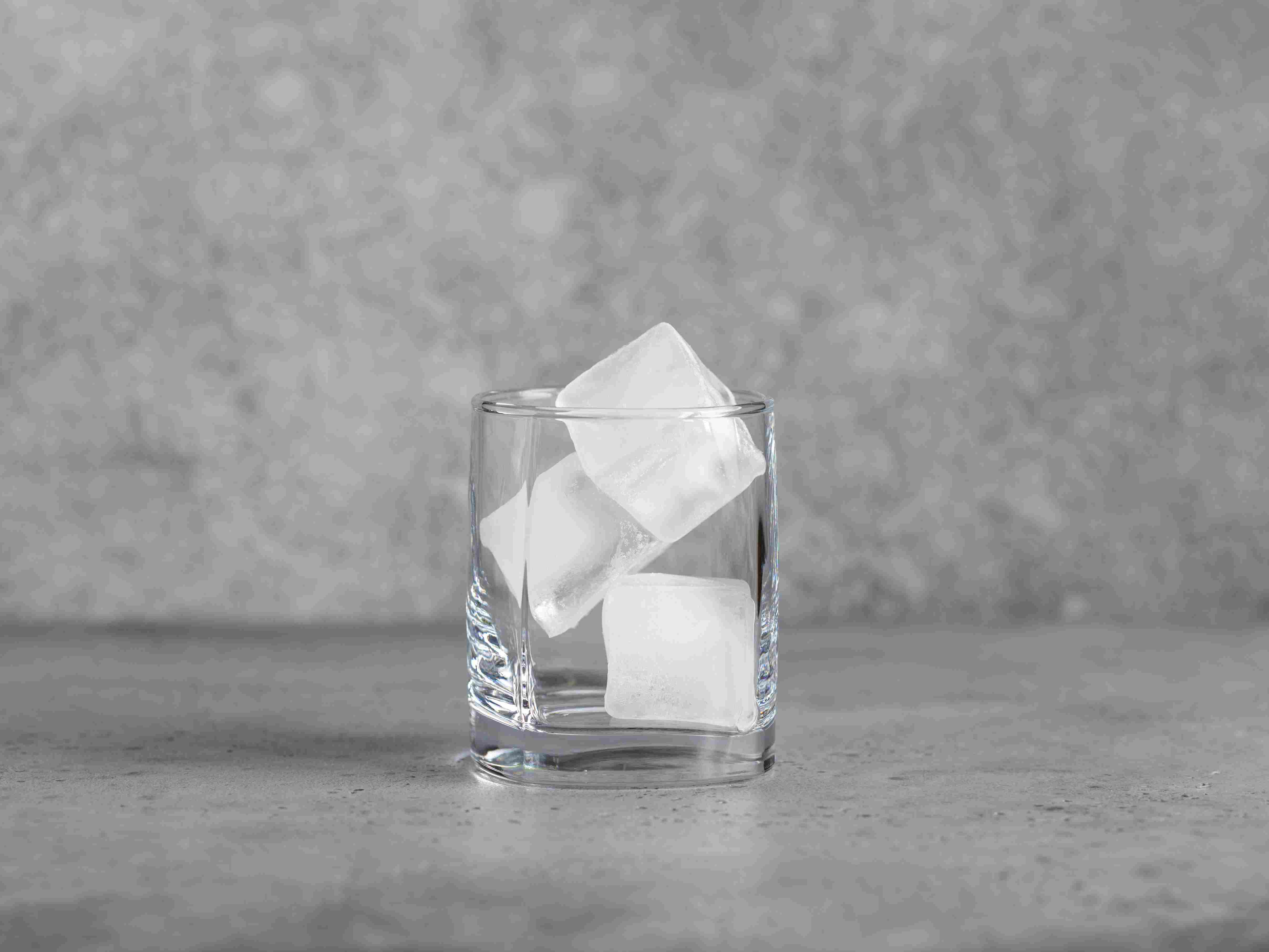 Glass with ice cubes for chilling