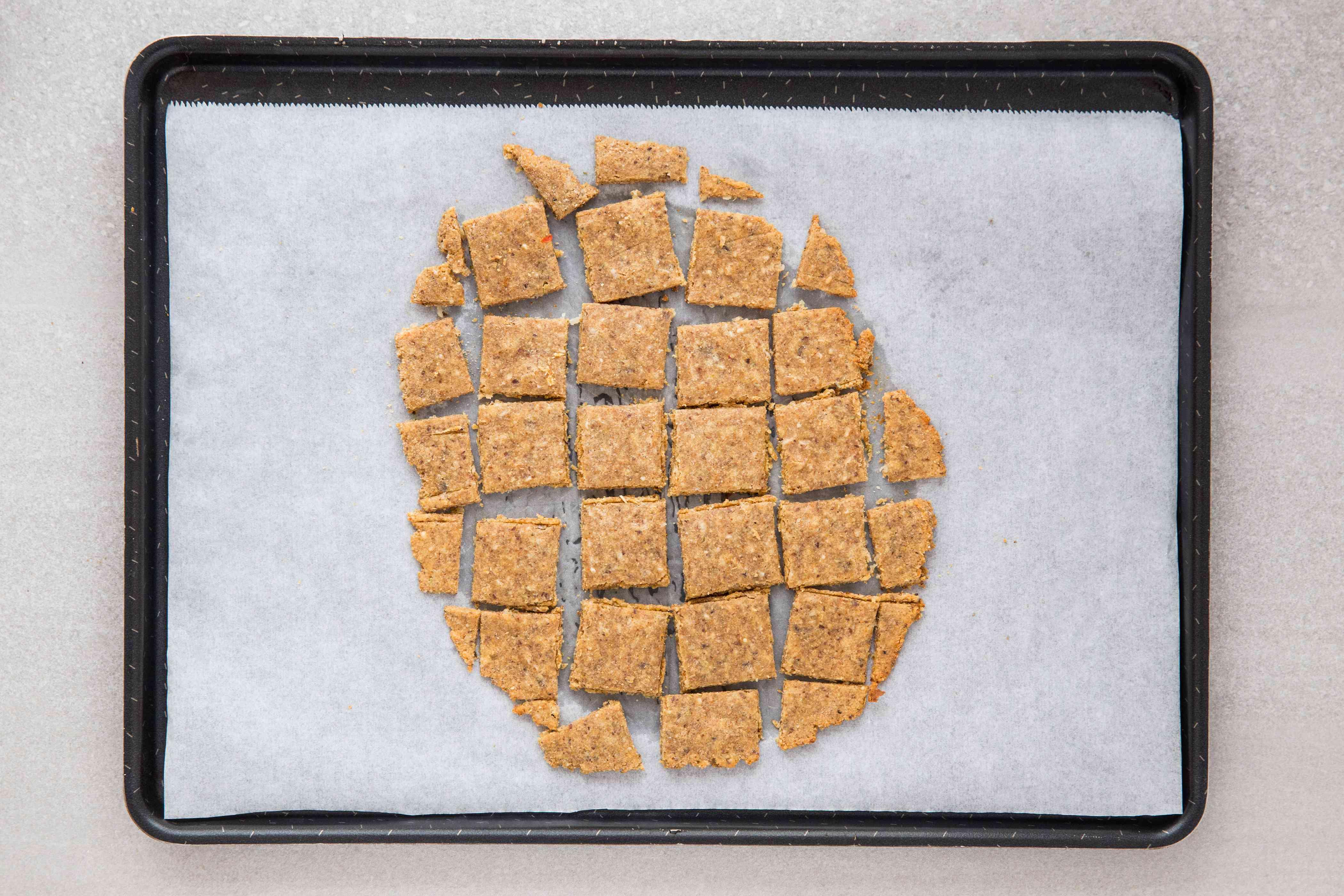 Gluten-Free Almond Flax Cracker on a baking sheet