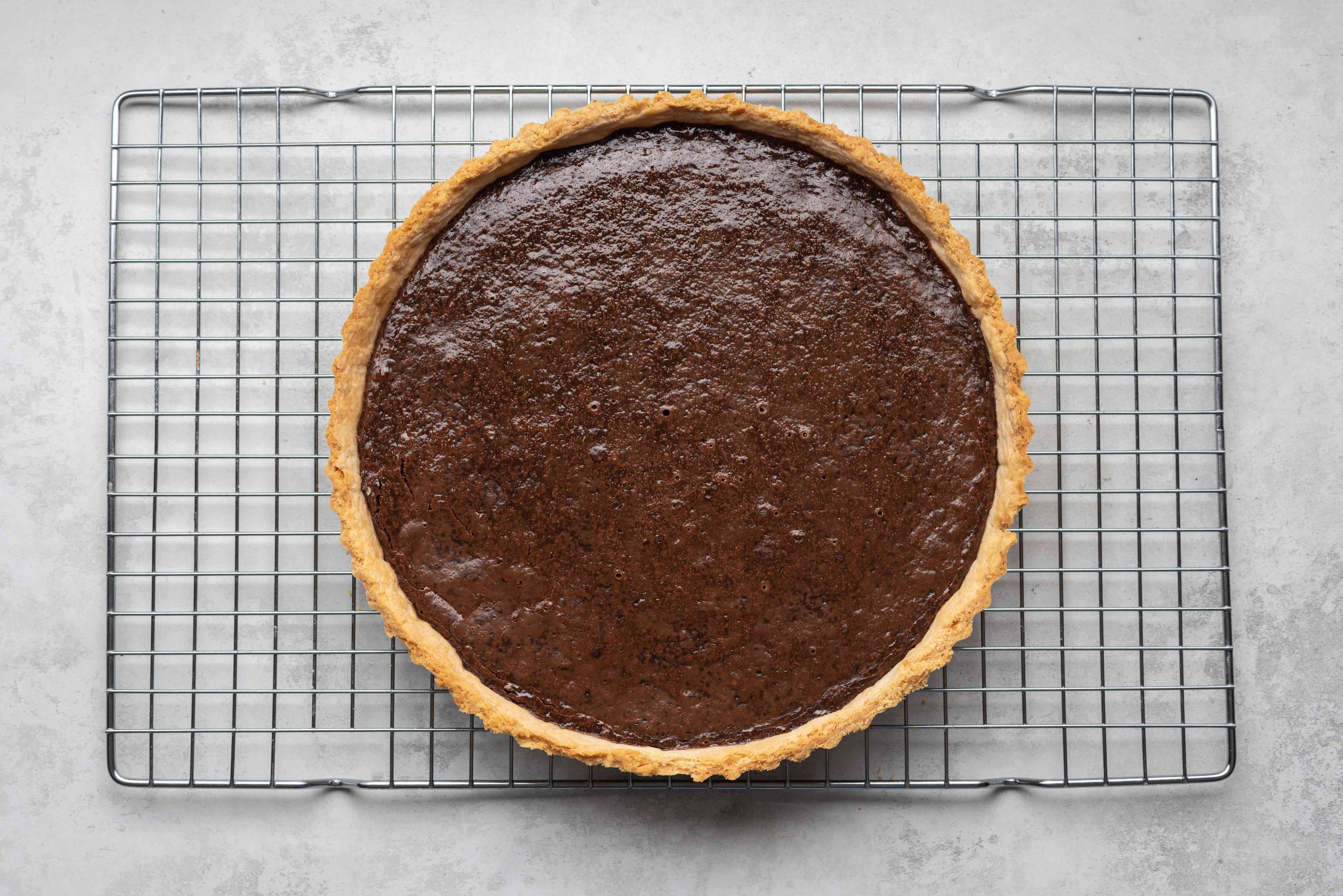 French Chocolate Tart on a cooling rack