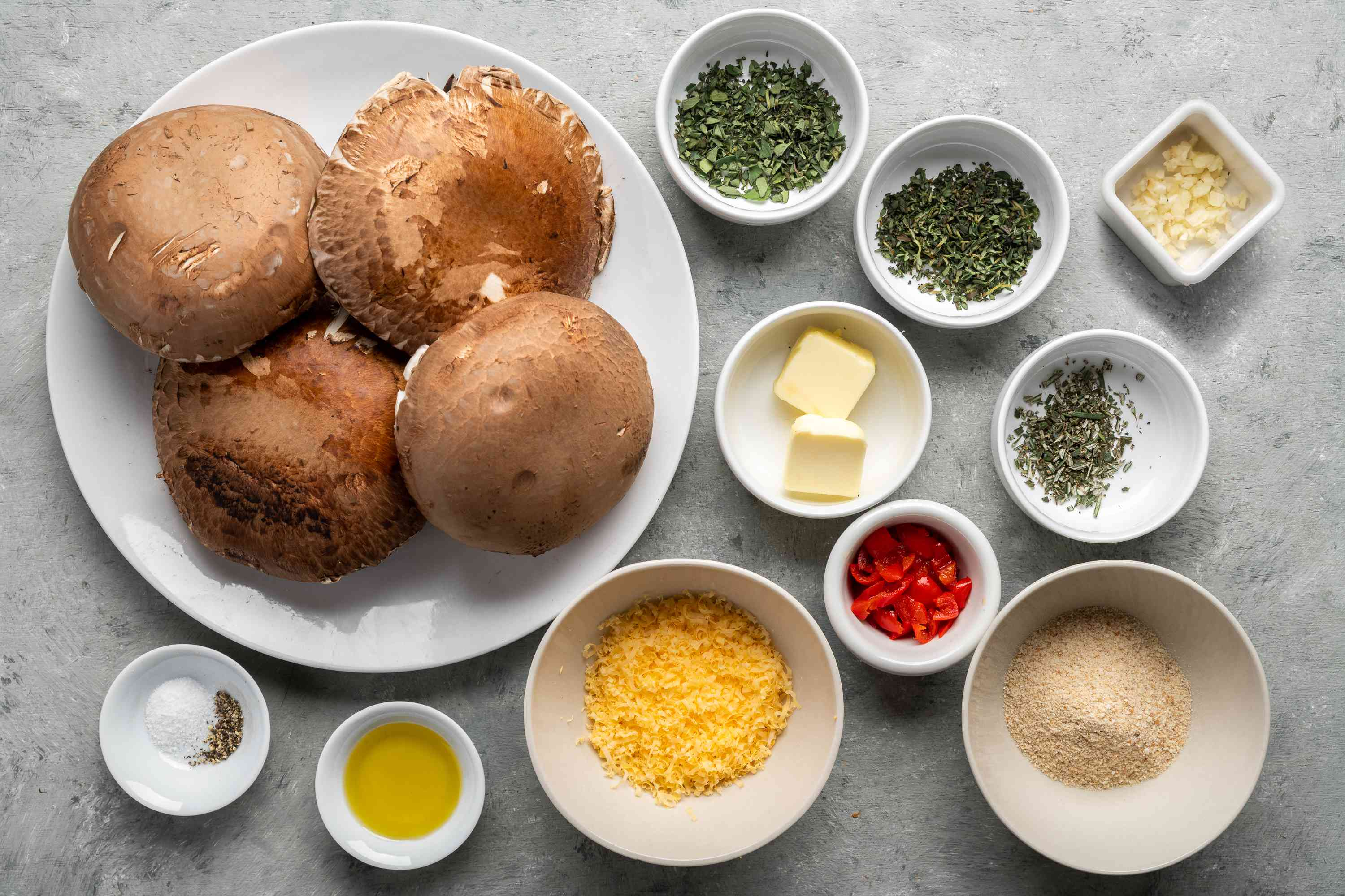 Ingredients for grilled herb and cheese stuffed mushrooms