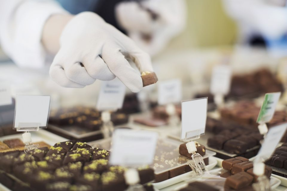 Chocolate factory worker holding truffles