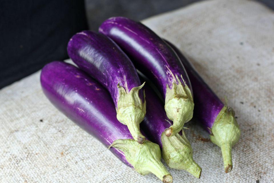 Eggplants on counter