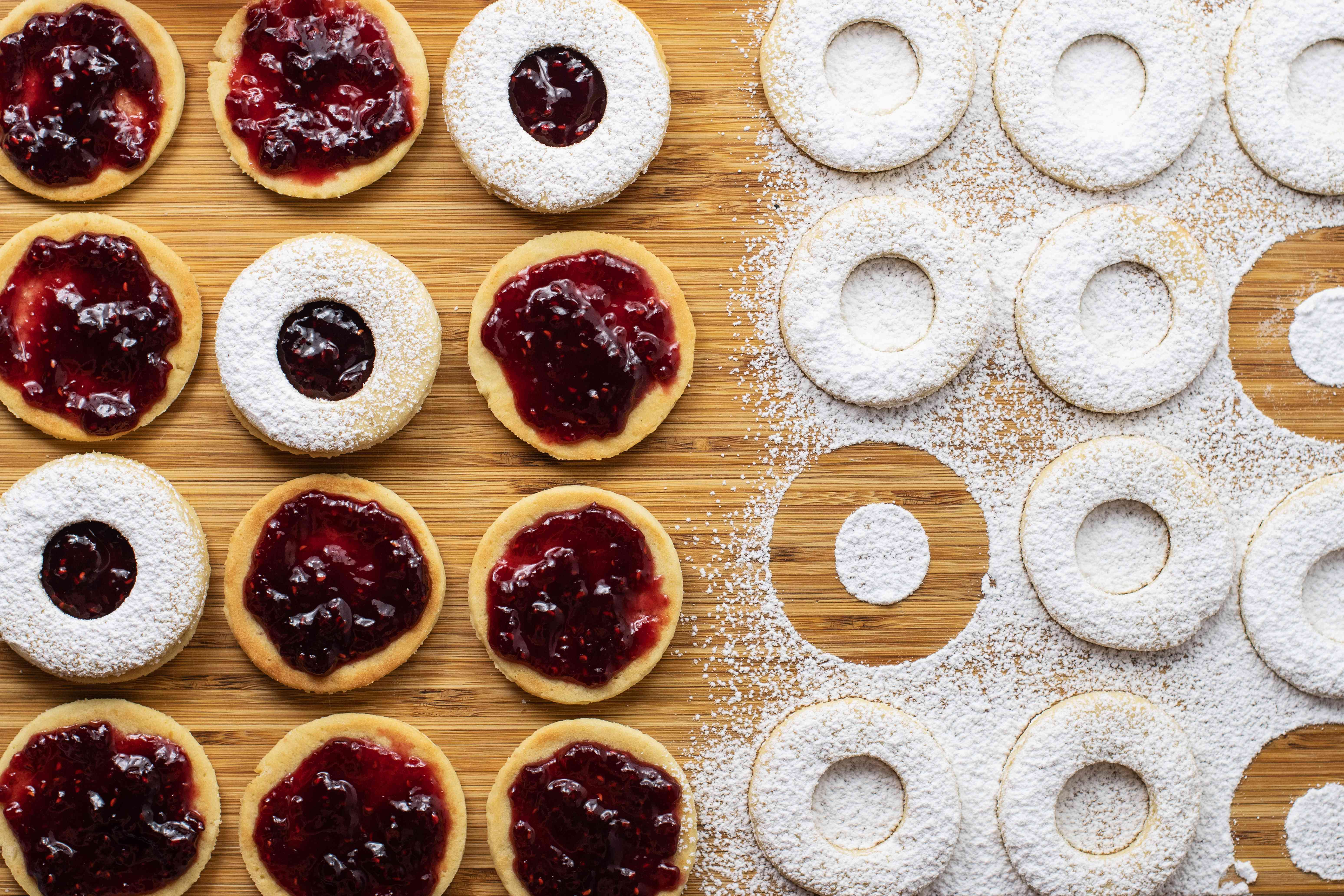 Jam filled maslenki cookies and tops dusted with confectioners' sugar