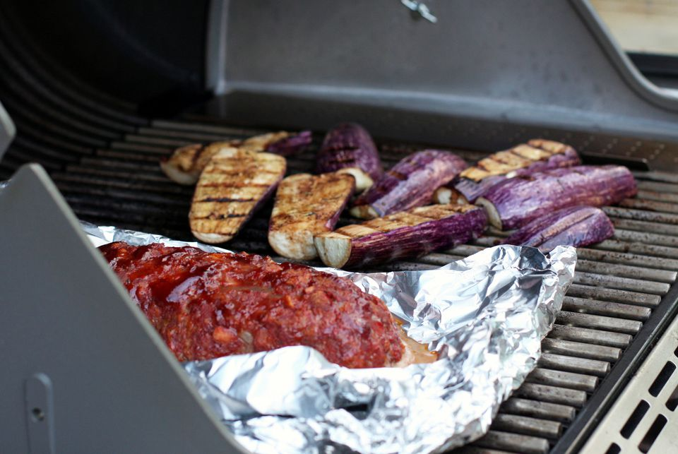 Grilled Eggplant With Grilled Meatloaf