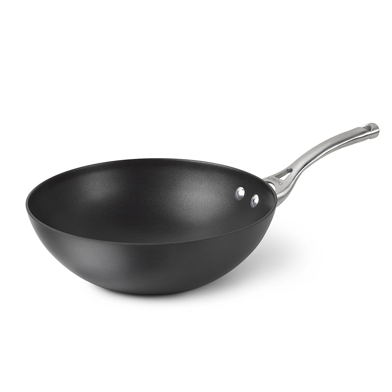Calphalon Contemporary Hard-Anodized Aluminum Nonstick Cookware, Flat-Bottom Wok, 10-inch, Black