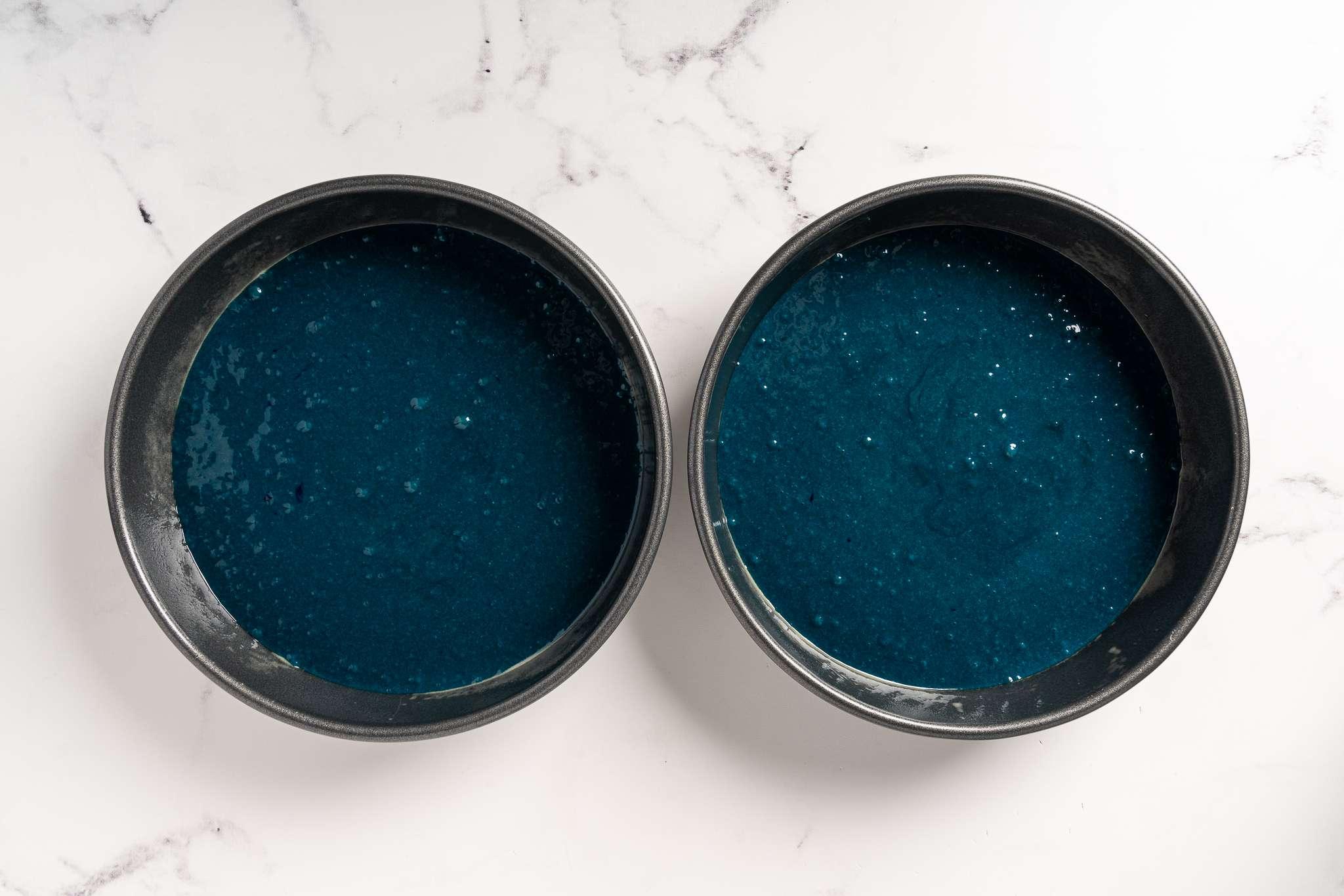 Blue Velvet Cakes ready to be baked