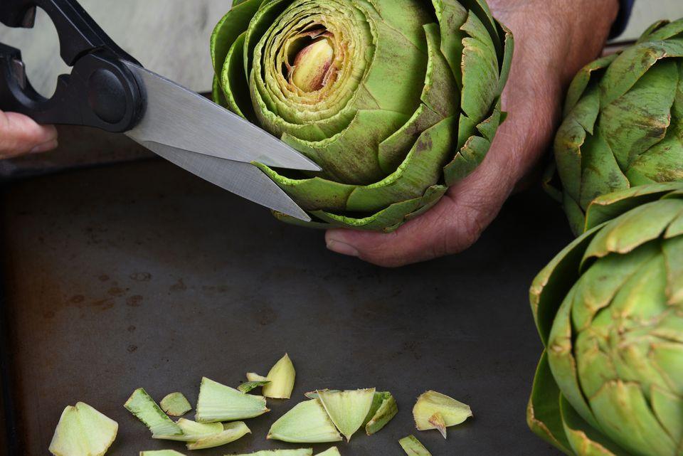 Man cutting artichoke leafs with kitchen shears