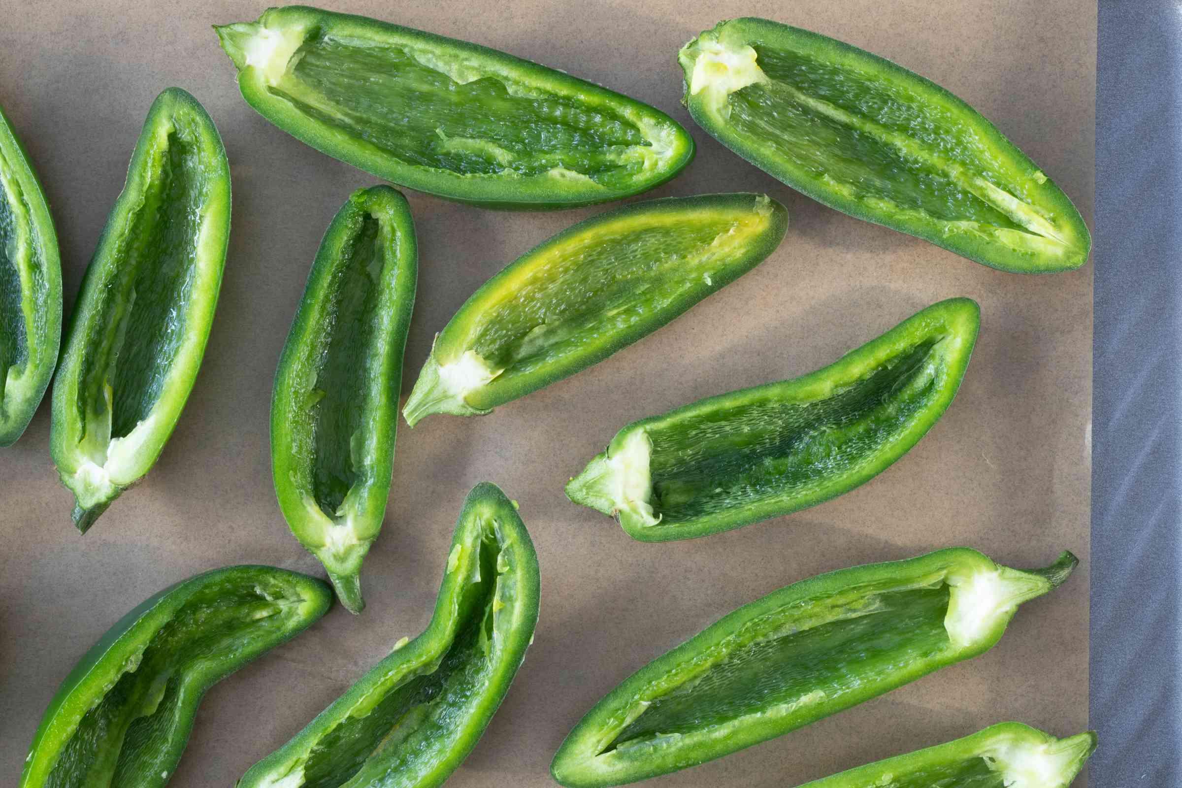 jalapeno pepper halves, seeds removed