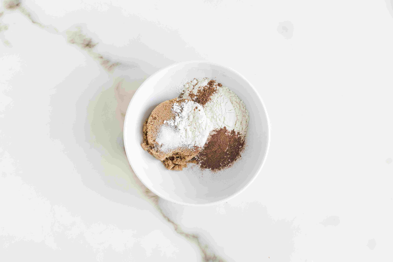 Mix brown sugar and flour