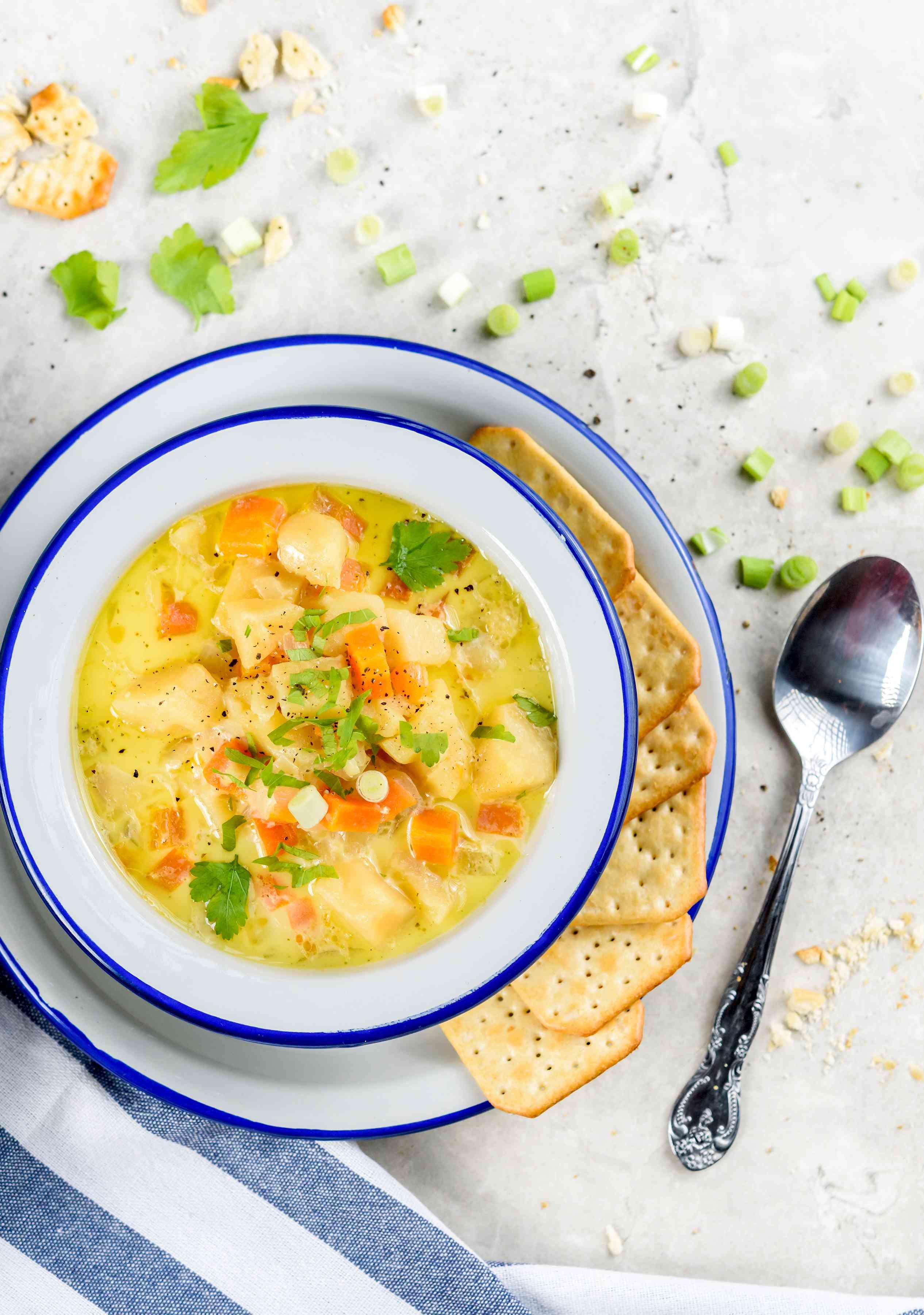 Potato soup ready to serve