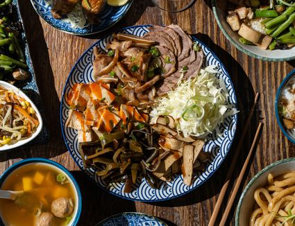 Arrangement of Taiwanese dishes featuring offal