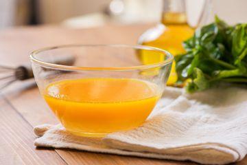Vinaigrette in a clear bowl