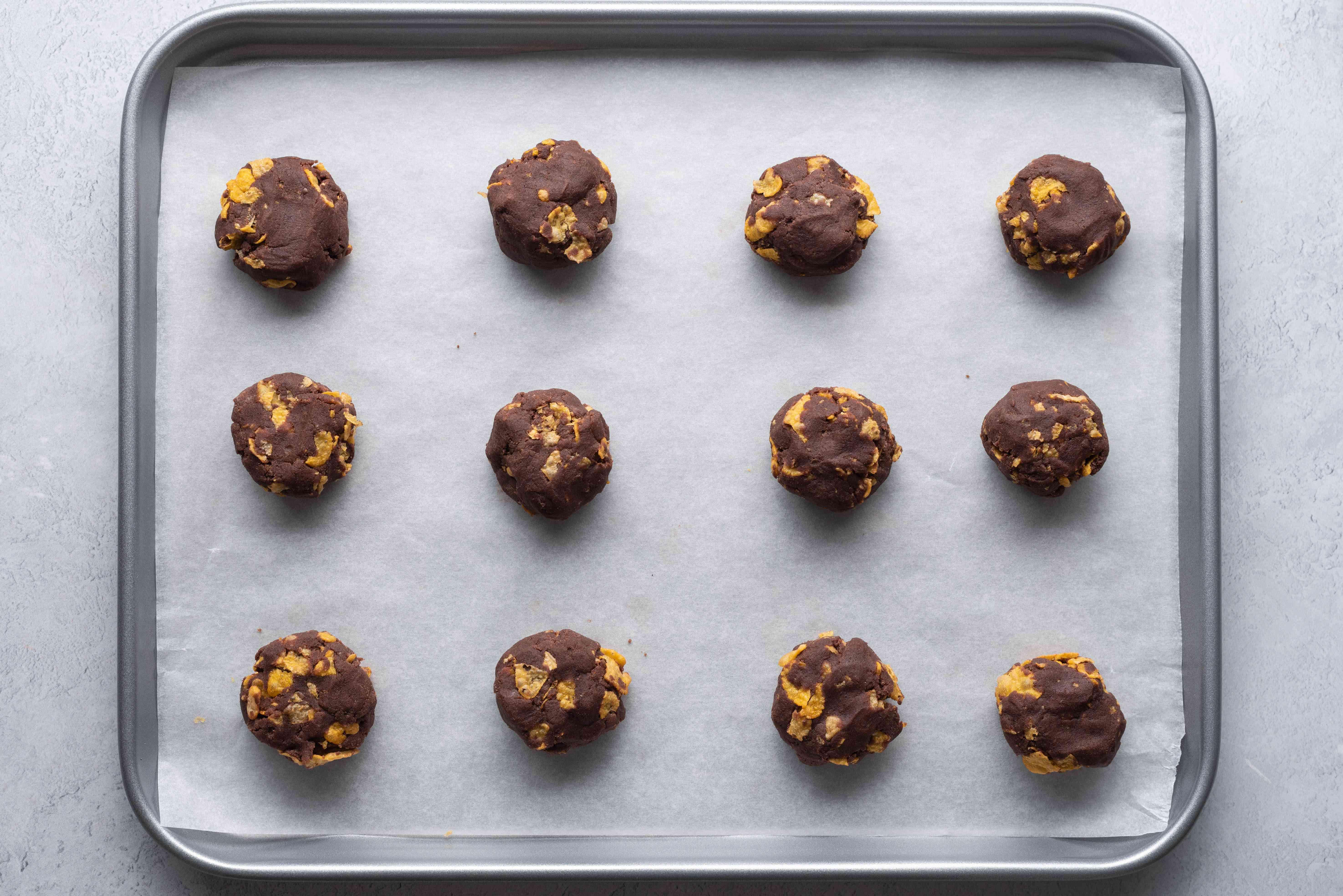 biscuit bough balls on a baking sheet