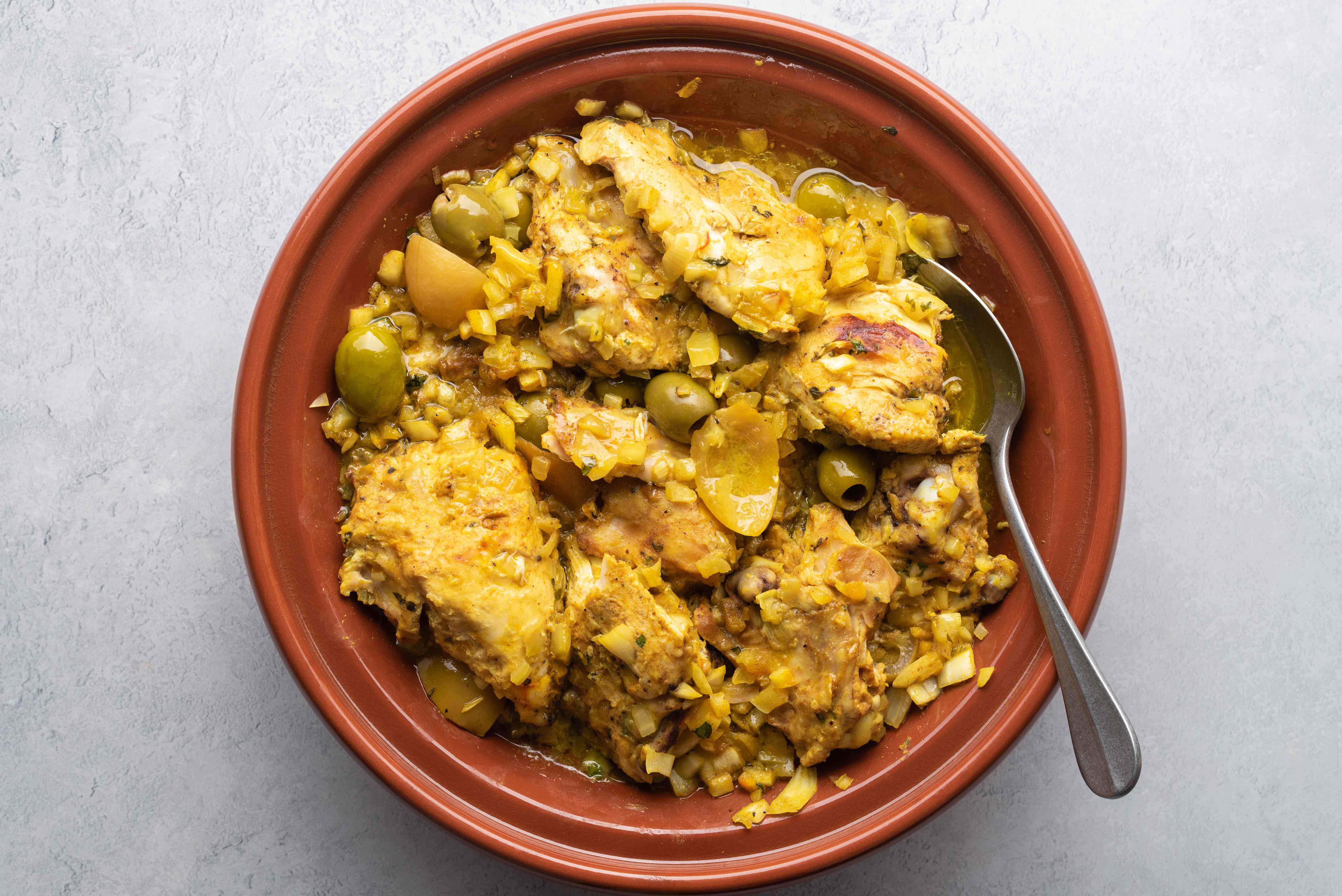 cooked chicken in a Tagine