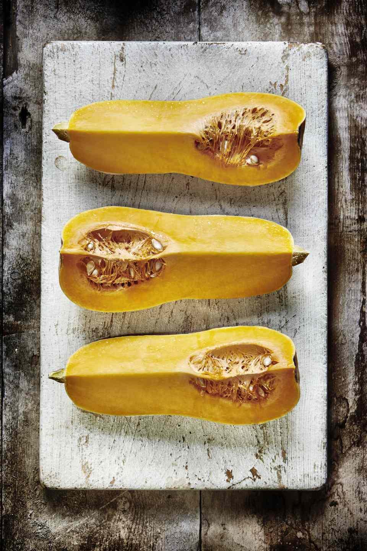 Butternut squash on a wooden board