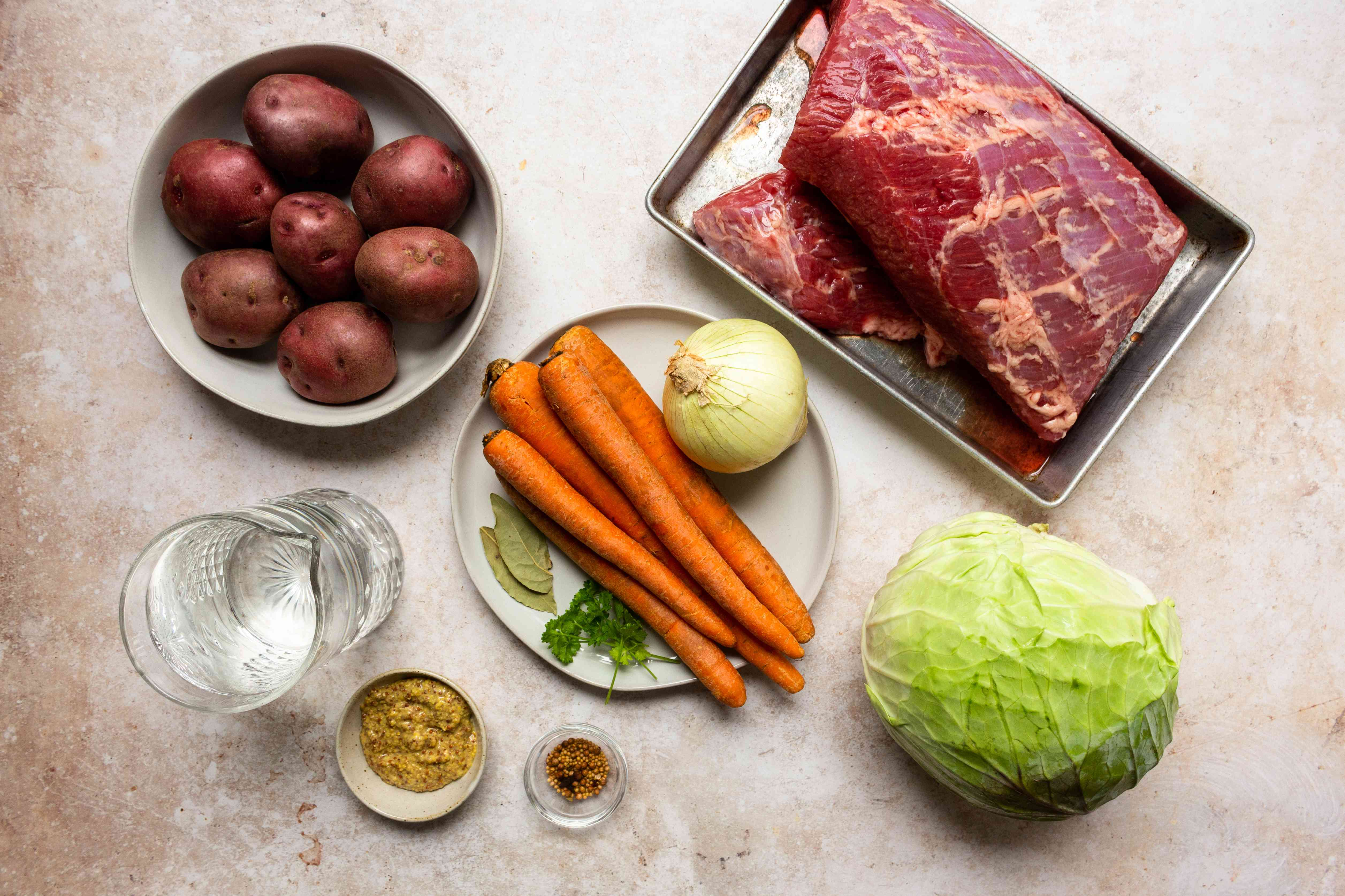 Ingredients for pressure cooker corned beef and cabbage