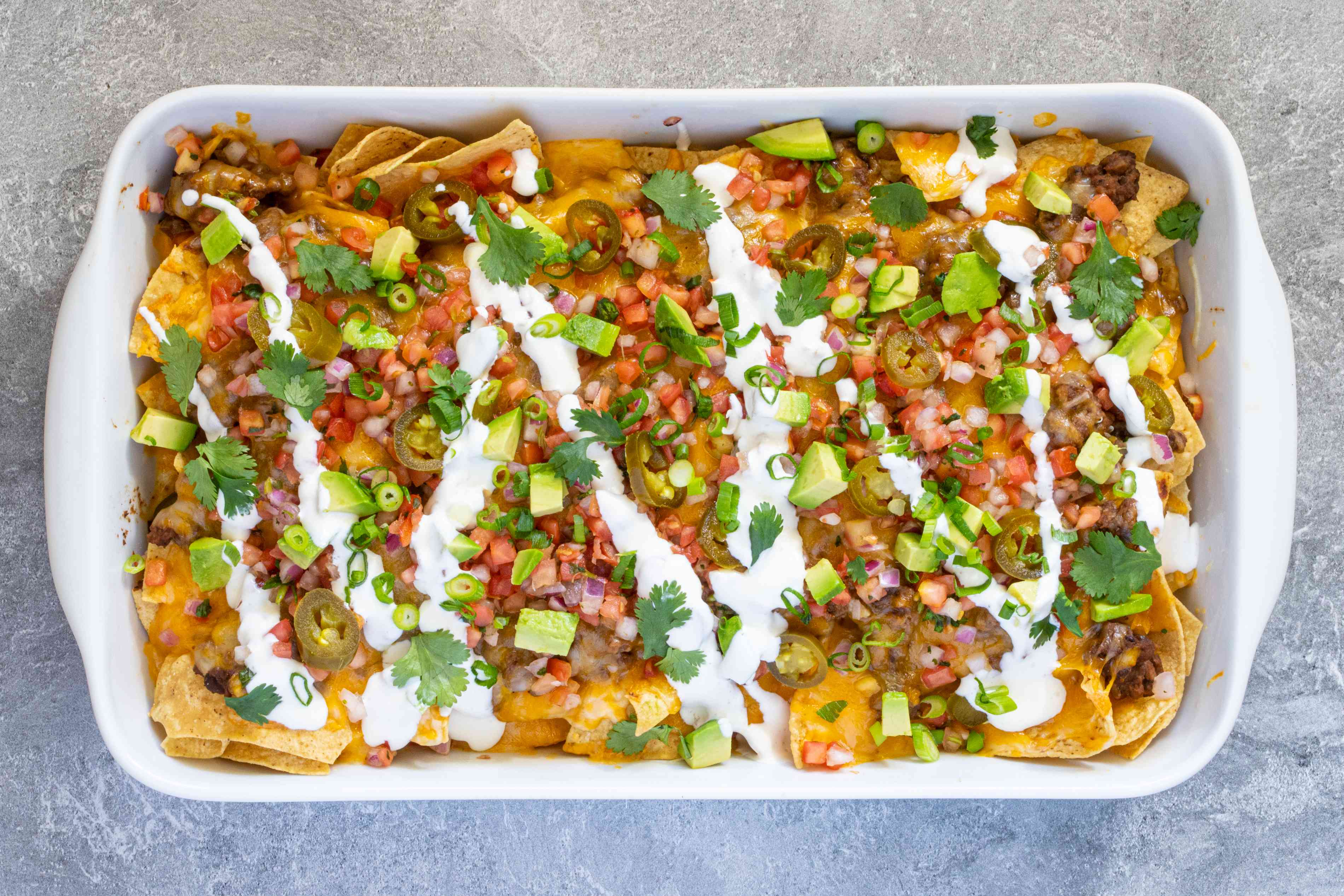 baking dish with nachos
