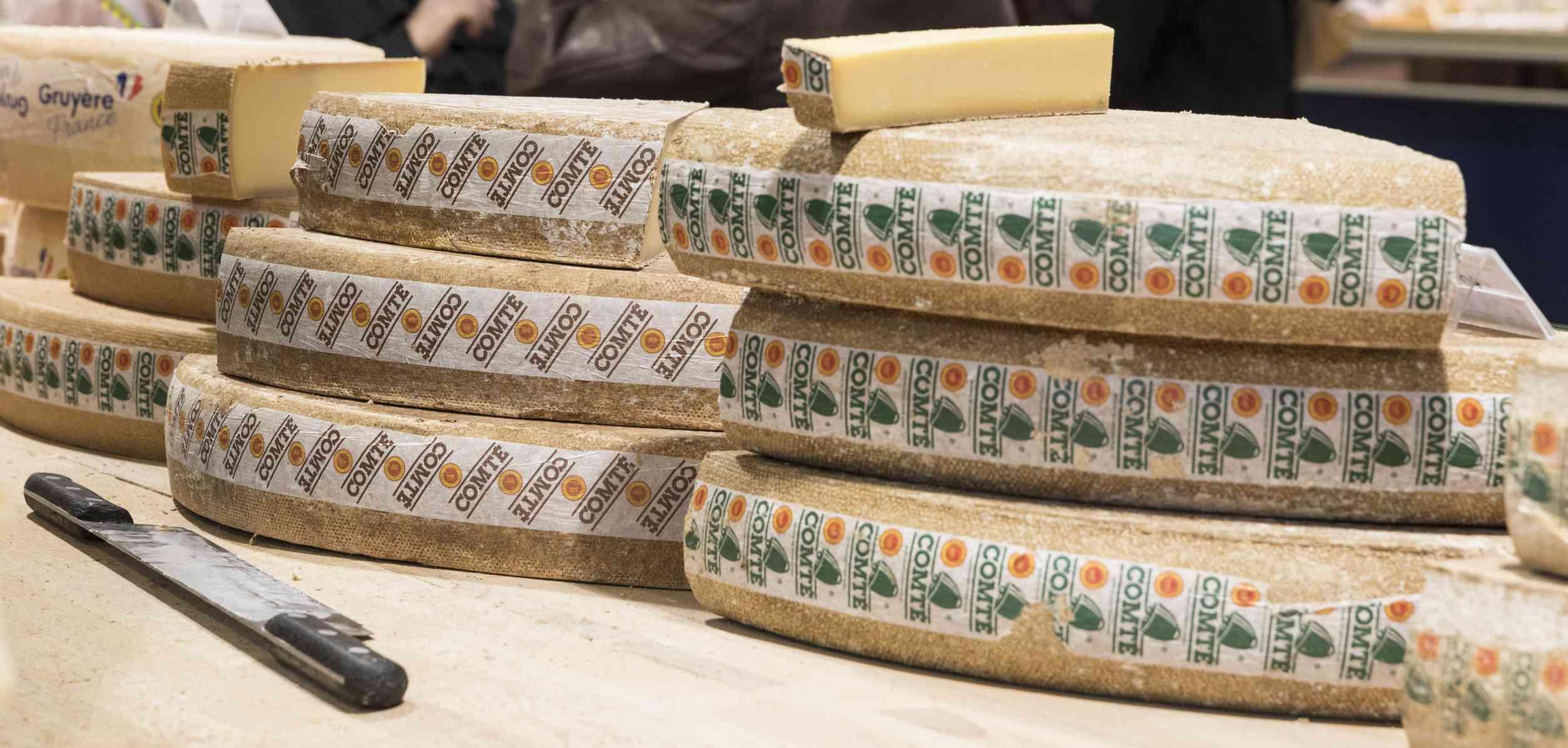 Wheels of Comte cheese