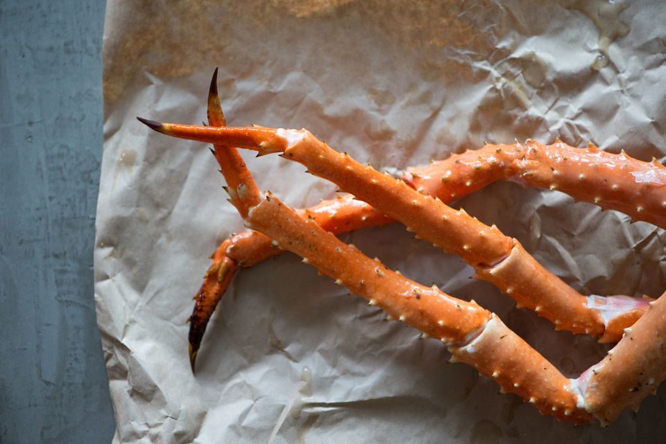 alaskan crab legs on paper