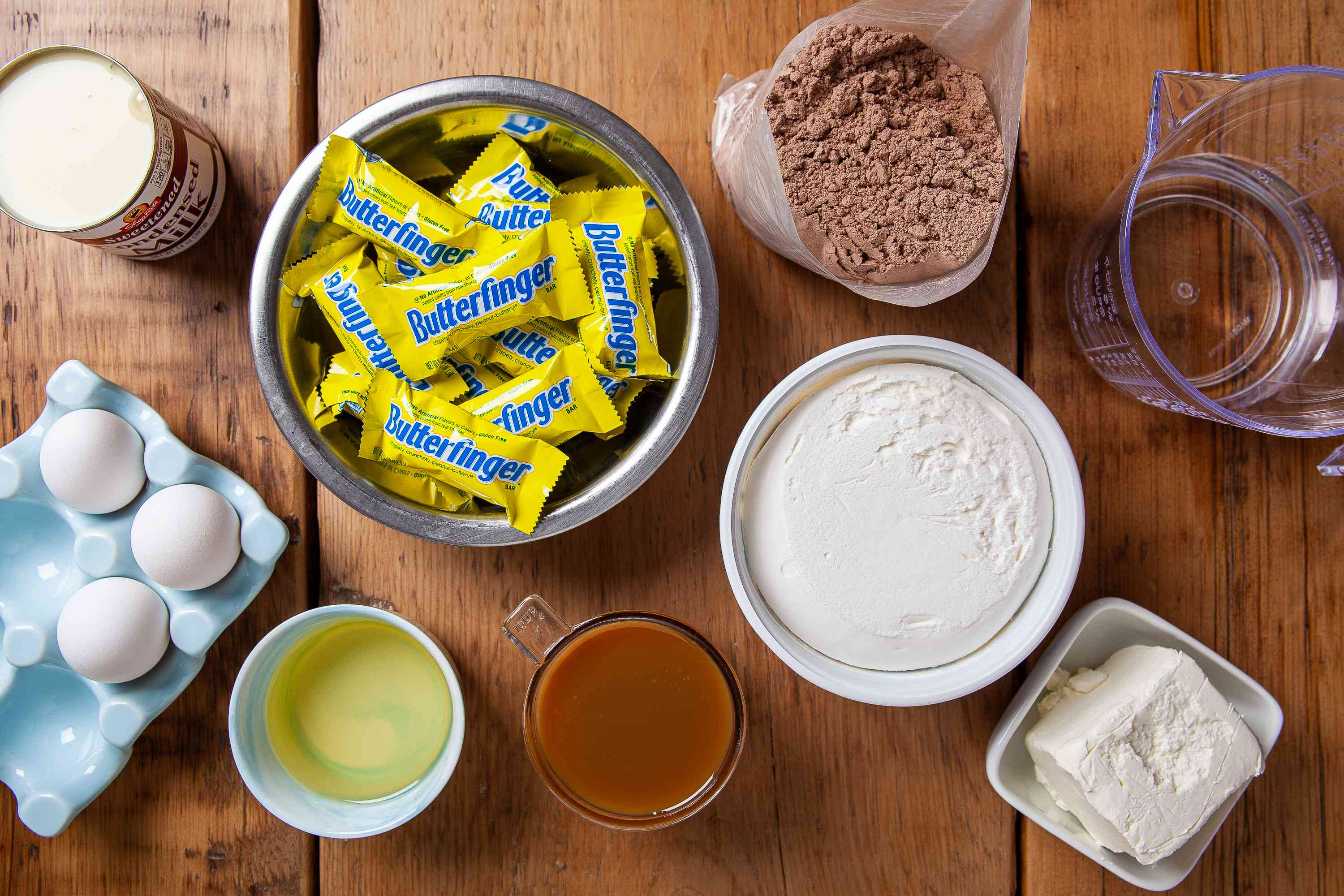 Gather the ingredients for the Butterfinger Cake