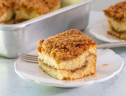 a classic coffee cake with cinnamon swirl and streusel topping