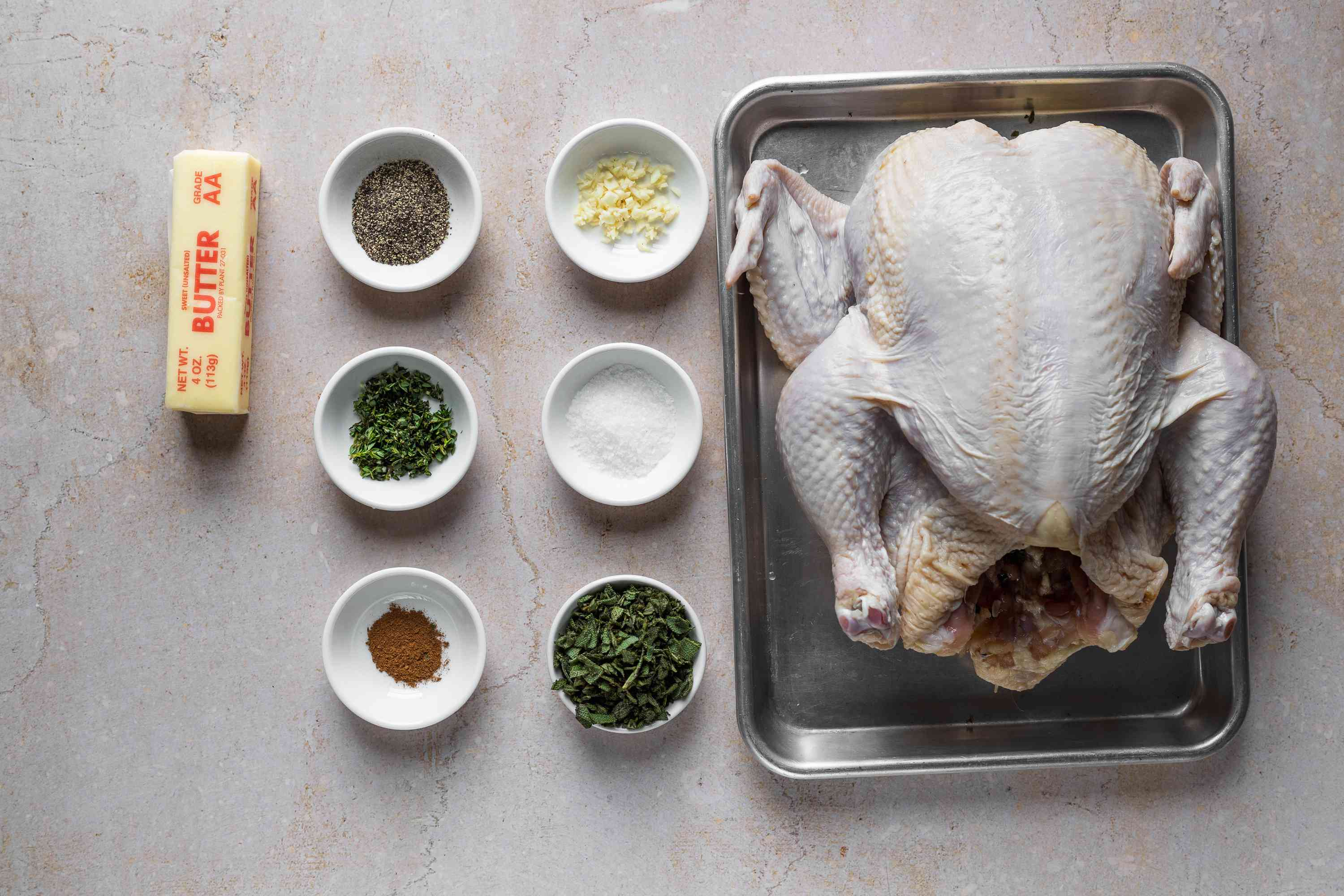 Ingredients for turkey compound butter recipe