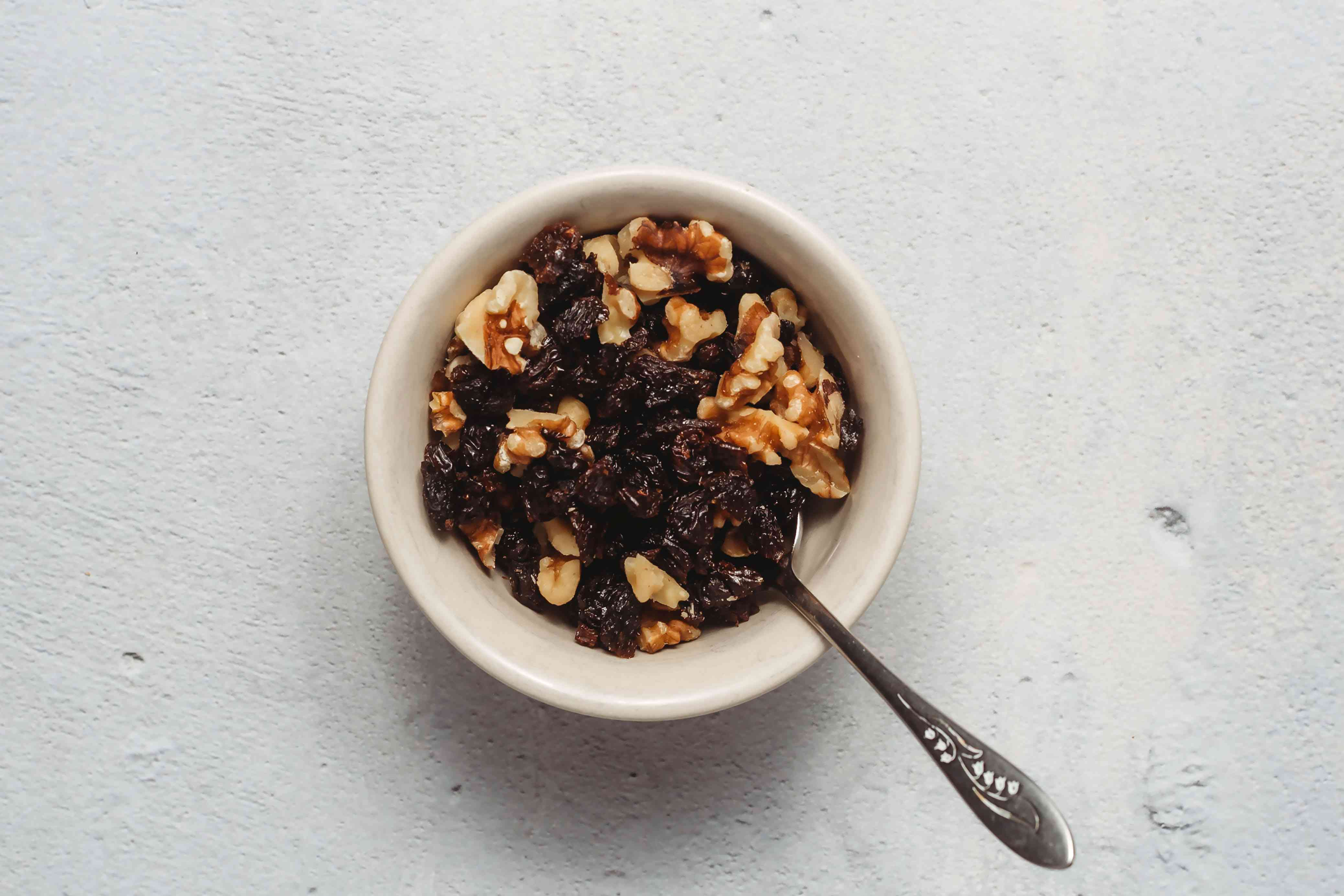 nuts and raisins in a bowl
