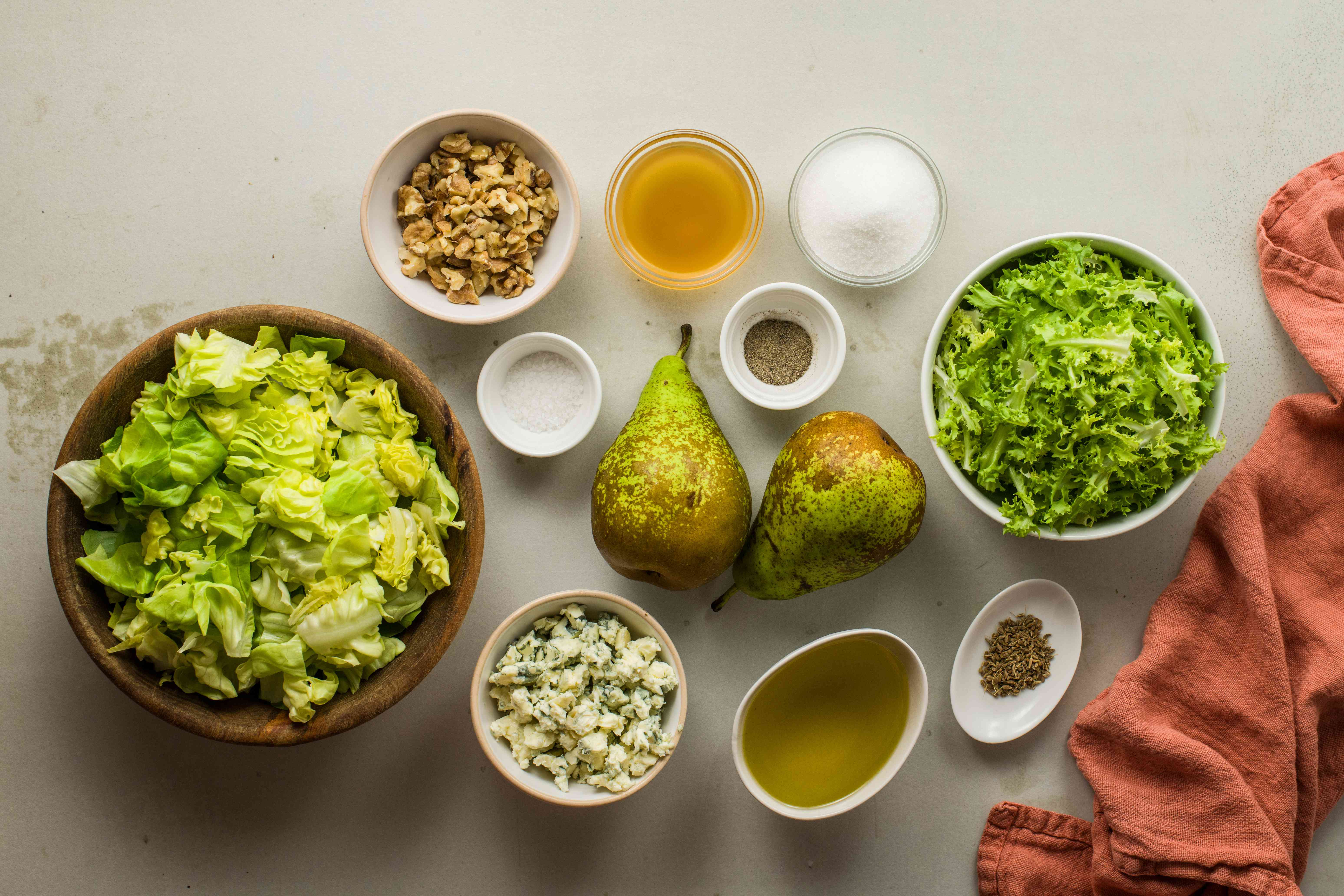 Ingredients for pear and greens salad