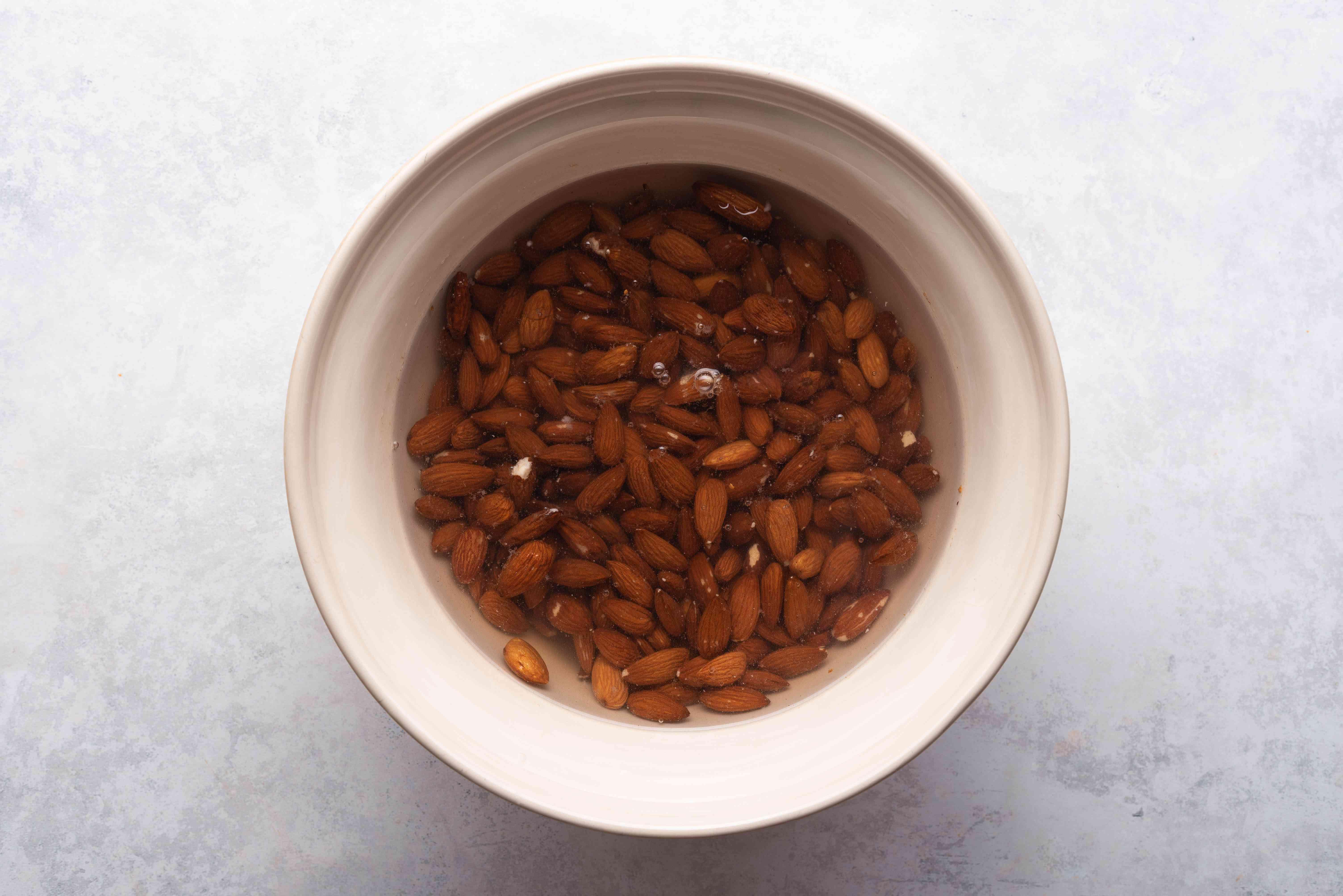 almonds soaking in a bowl