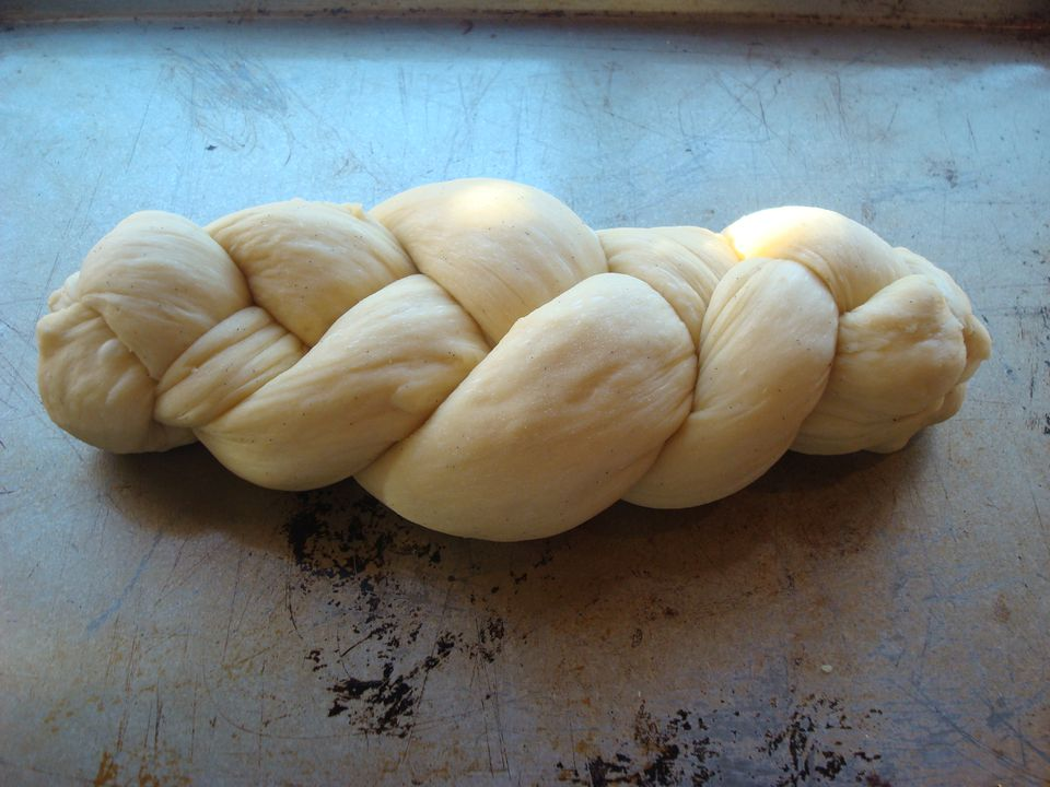 3-strand braided challah dough