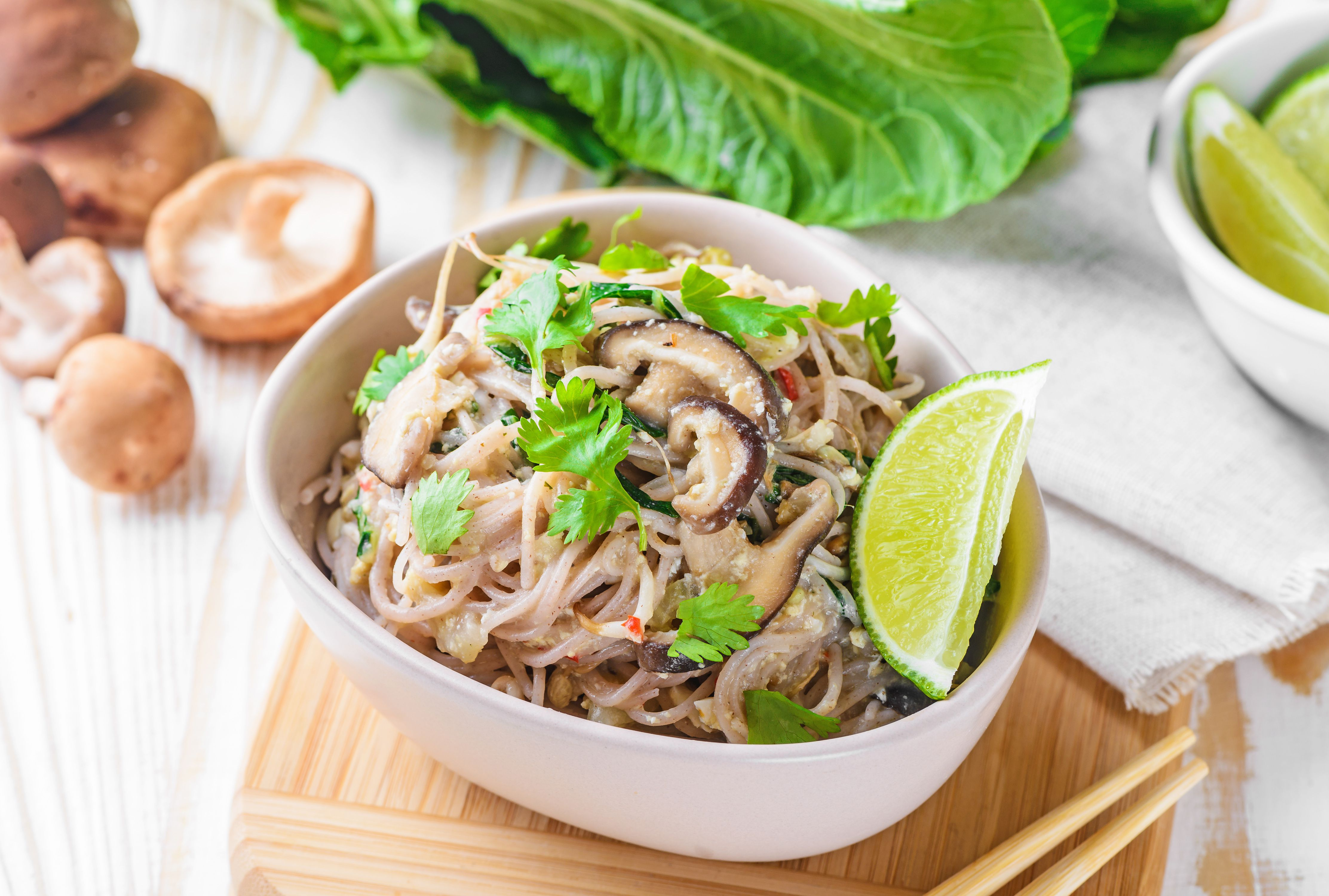 Easy Brown Rice Vermicelli Noodles With Fresh Shiitake