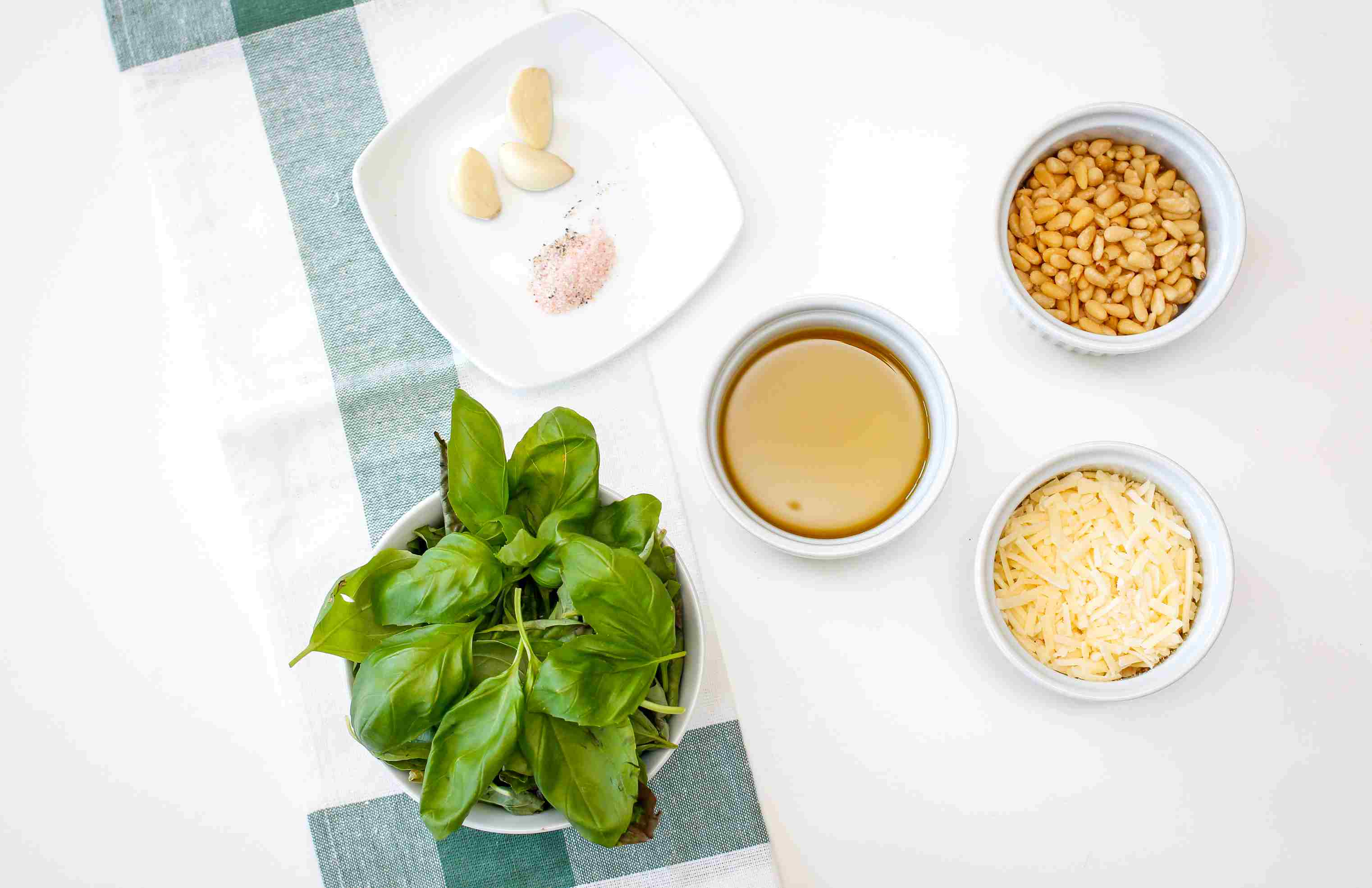 Ingredients for classic basil pesto sauce