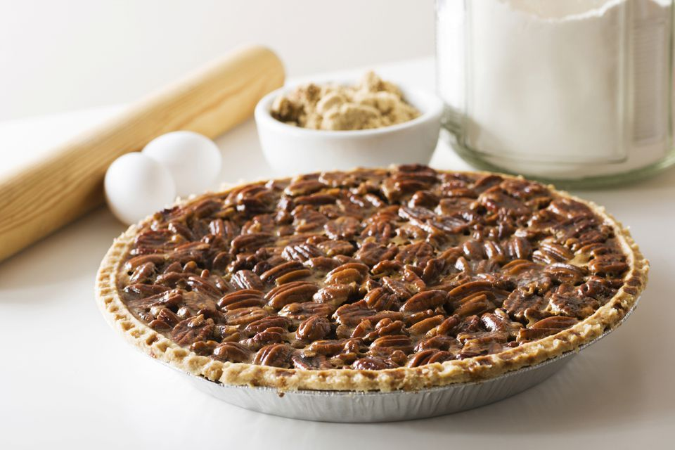 A close-up of a bourbon pecan pie