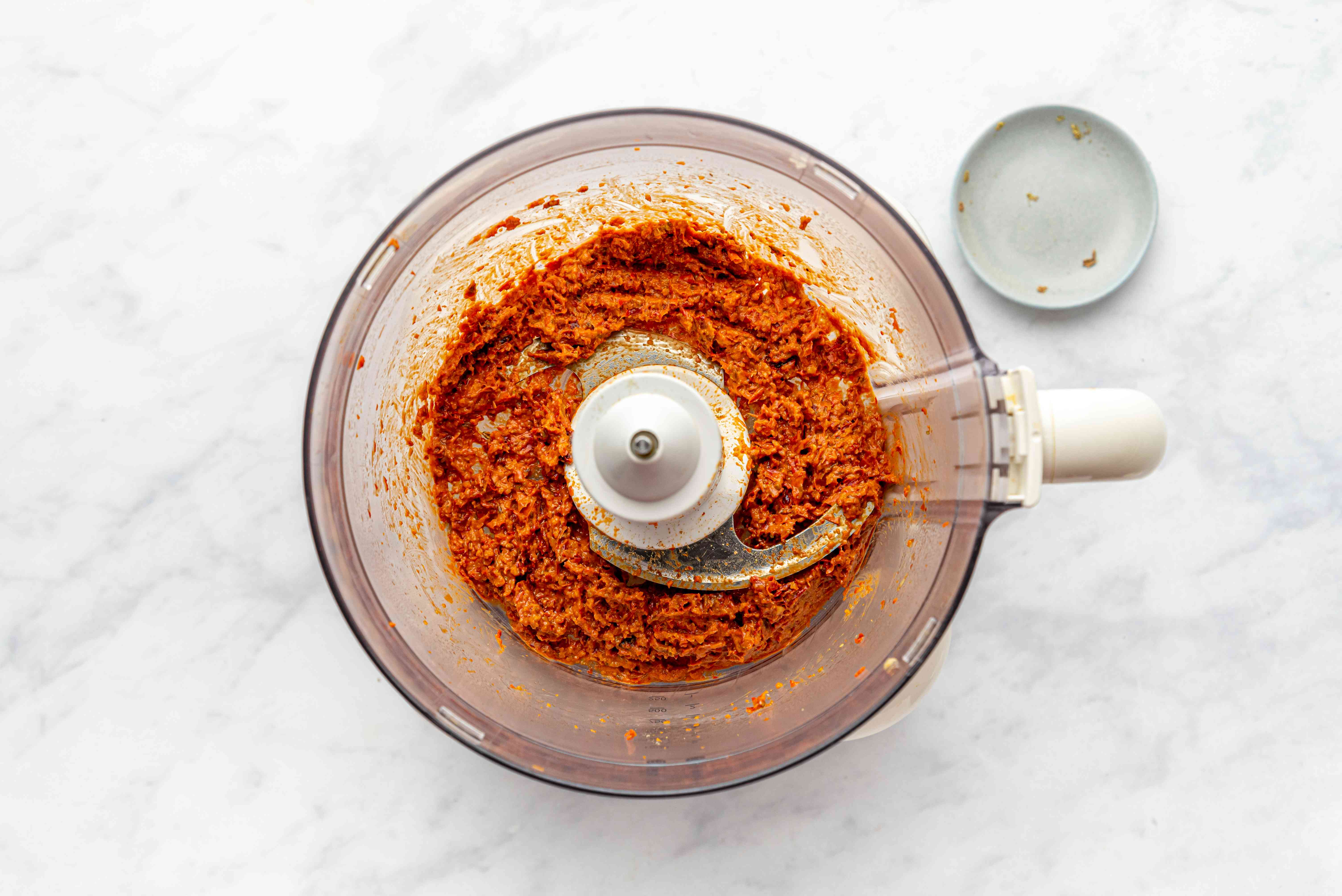 Blending chilies and spices in food processor